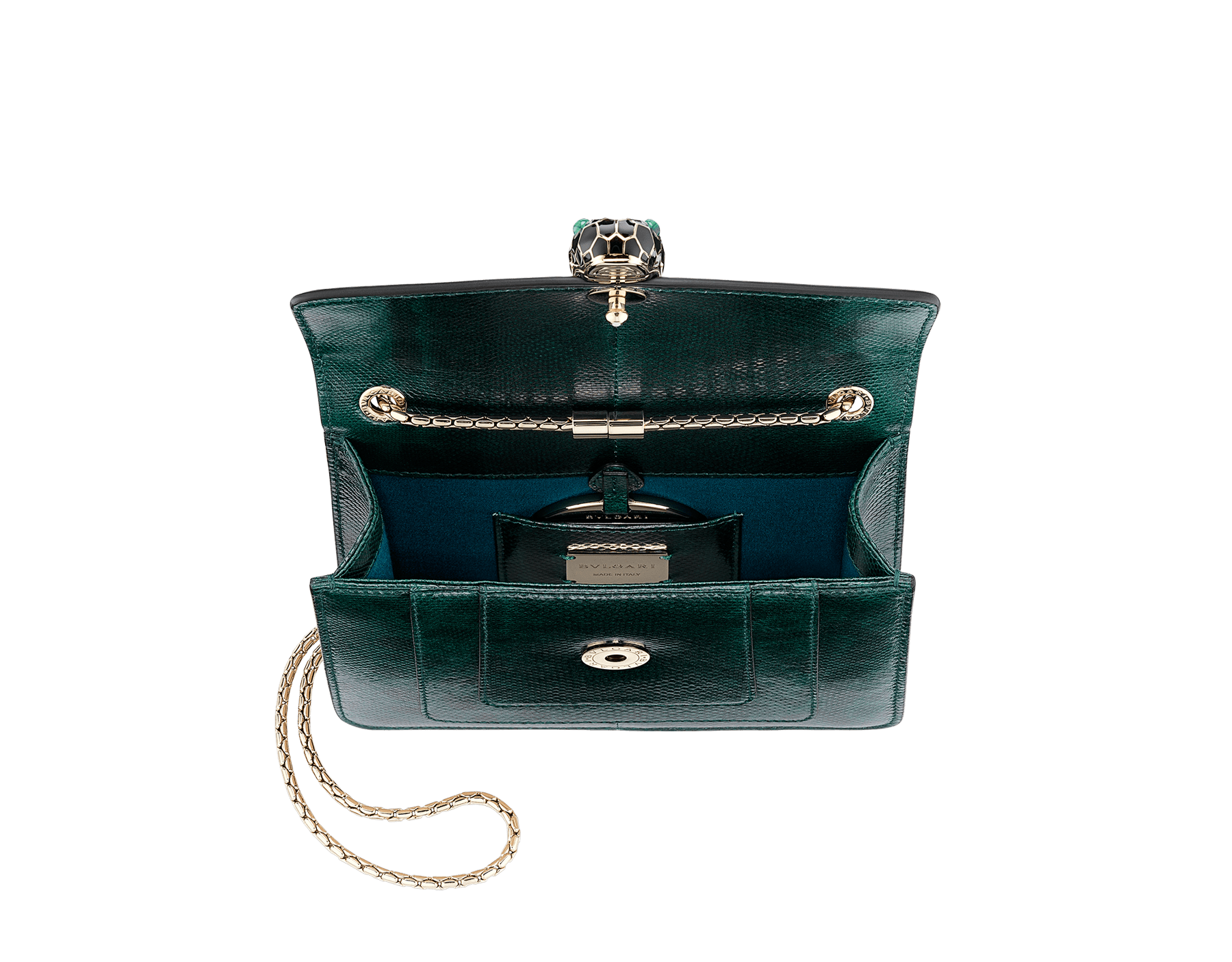 """""""Serpenti Forever"""" crossbody bag in shiny forest emerald karung skin. Iconic snakehead closure in light gold plated brass enriched with black and white enamel and green malachite eyes. 287357 image 3"""