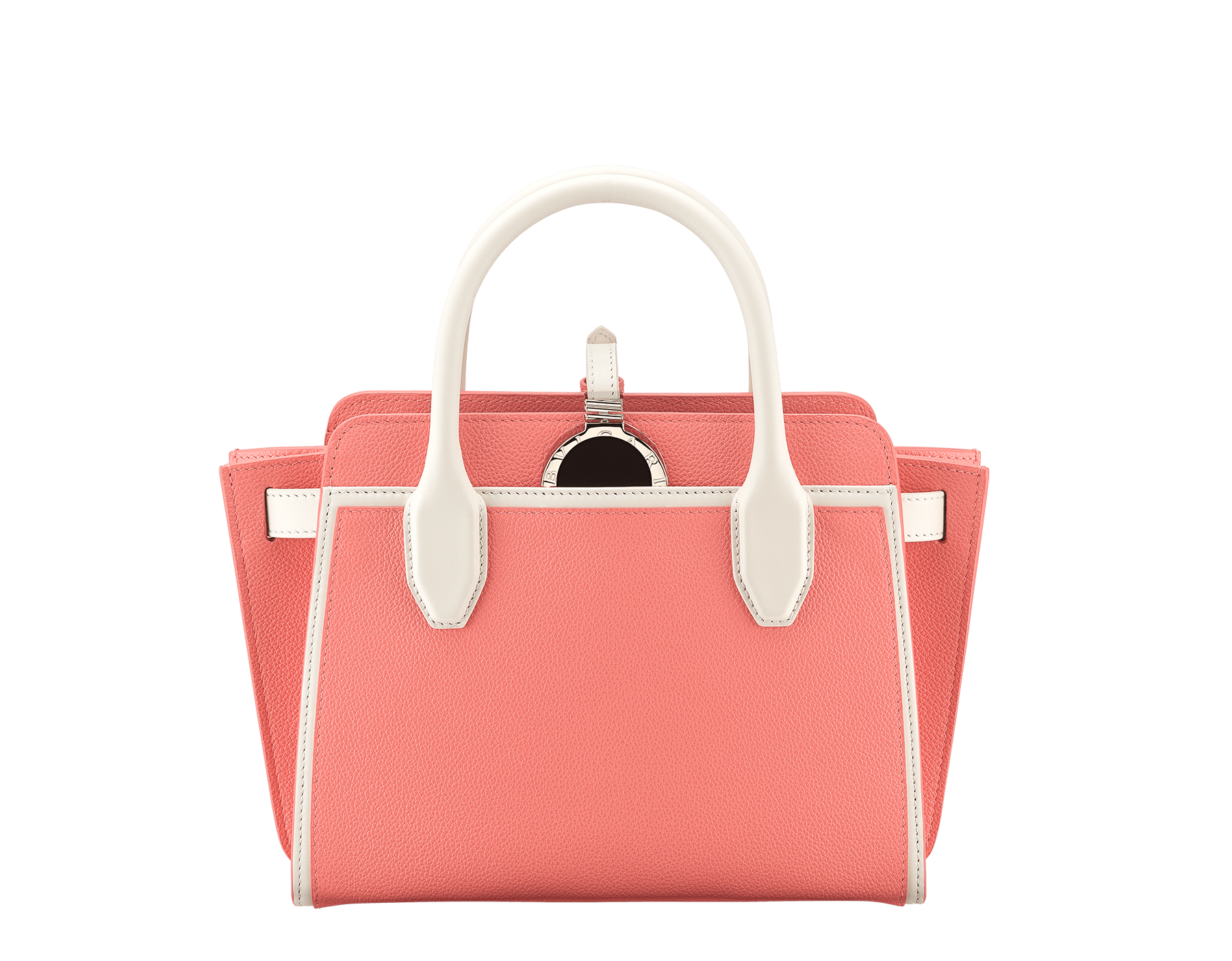 BVLGARI BVLGARI Alba tote bag in silky coral framed calf leather and white agate smooth calf leather, with zip closure. Pendant in light gold plated brass metal set with black enamel on the front and leather on the back side, featuring the double logo and a Tubogas decoration. 289334 image 1