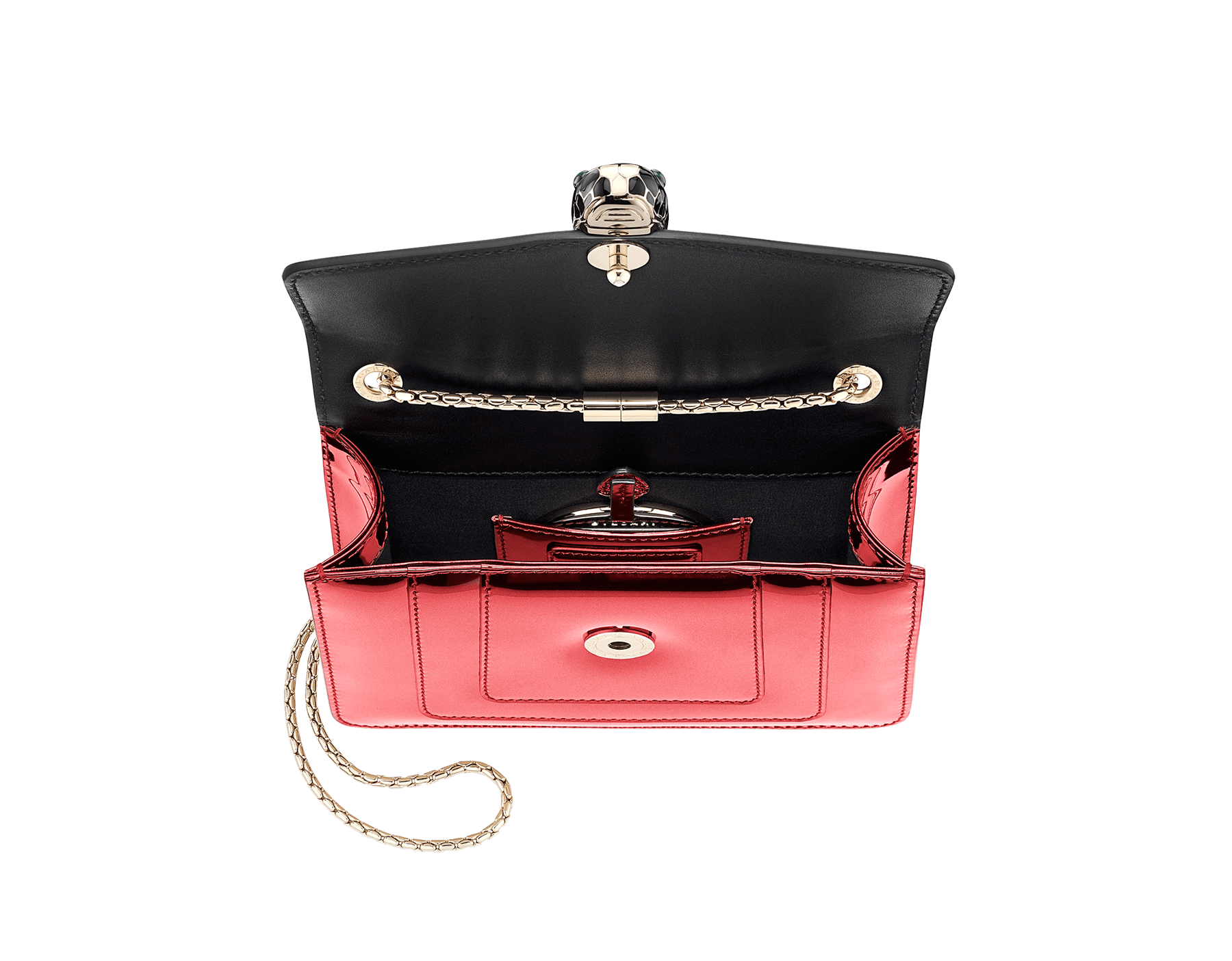 Flap cover bag Serpenti Forever in rose quartz brushed metallic calf leather. Brass light gold plated tempting snake head closure in black and white enamel, with eyes in green malachite. 422-BMCLb image 4
