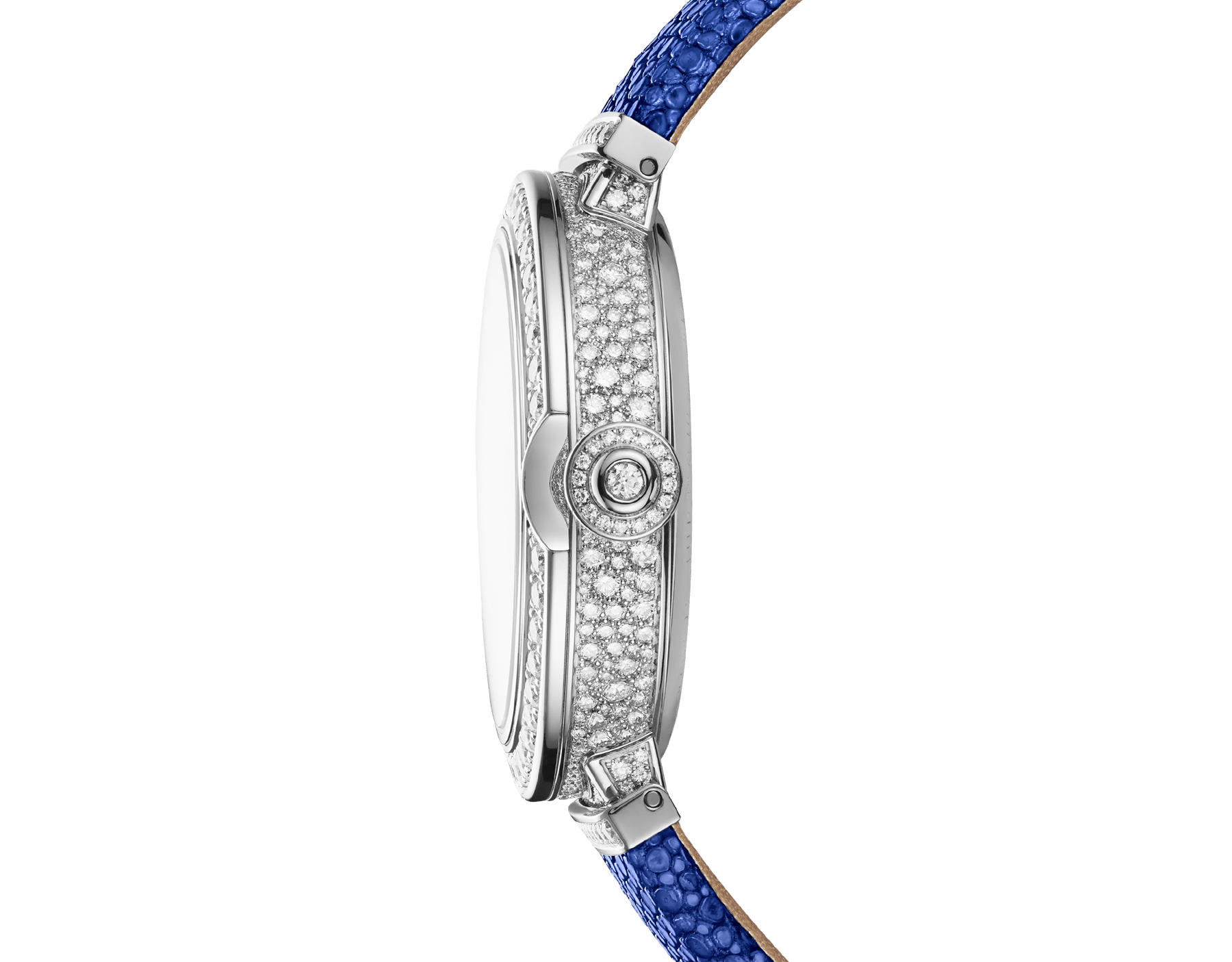 LVCEA Tourbillon Limited Edition watch with mechanical manufacture movement, automatic winding, see-through tourbillon, 18 kt white gold case set with round brilliant-cut diamonds, full-pavé dial with round brilliant-cut diamonds and blue colour finish, and blue galuchat bracelet 102881 image 3