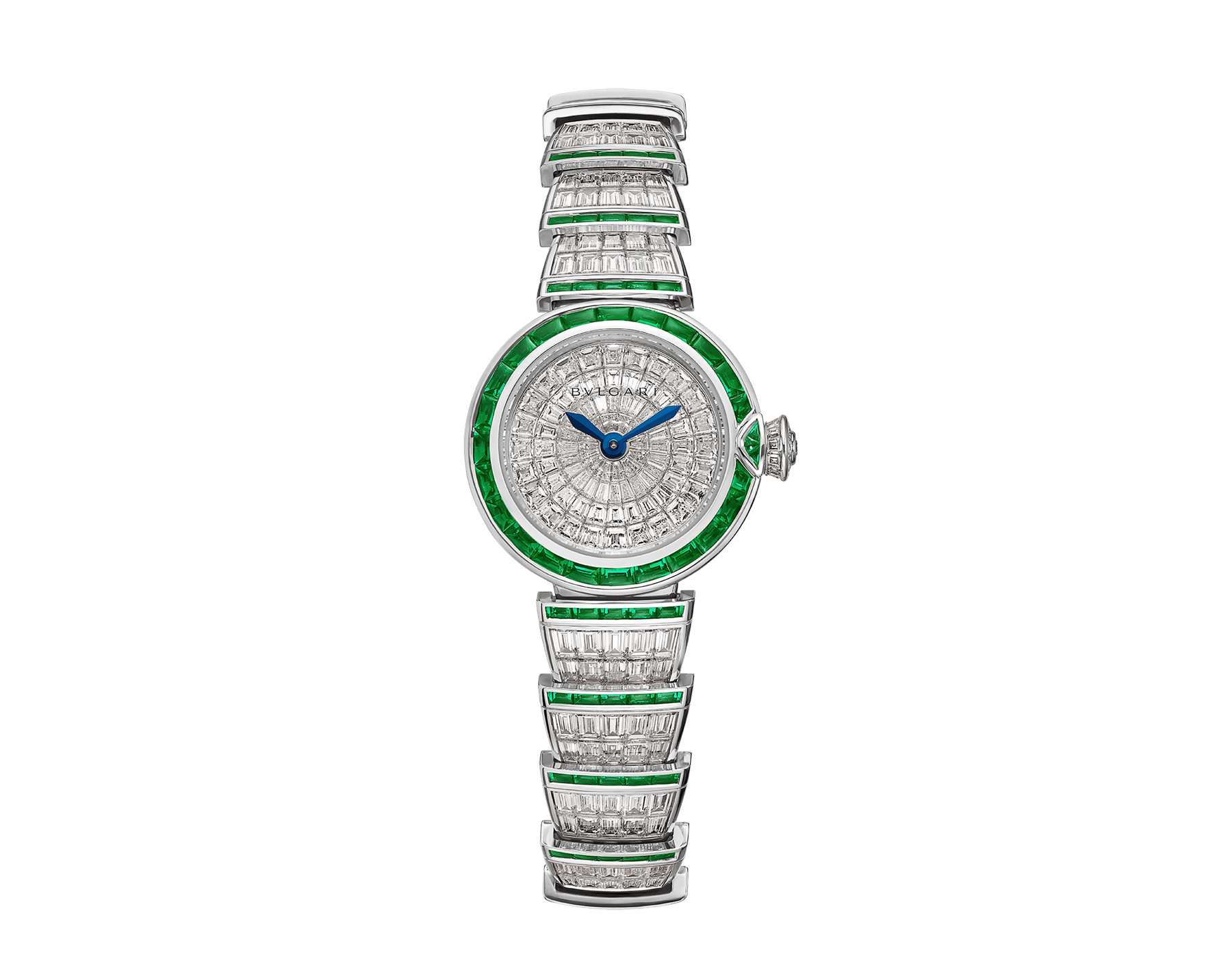 LVCEA watch in 18kt white gold case and bracelet, both set with baguette diamonds and emeralds and full diamond dial. 102466 image 1