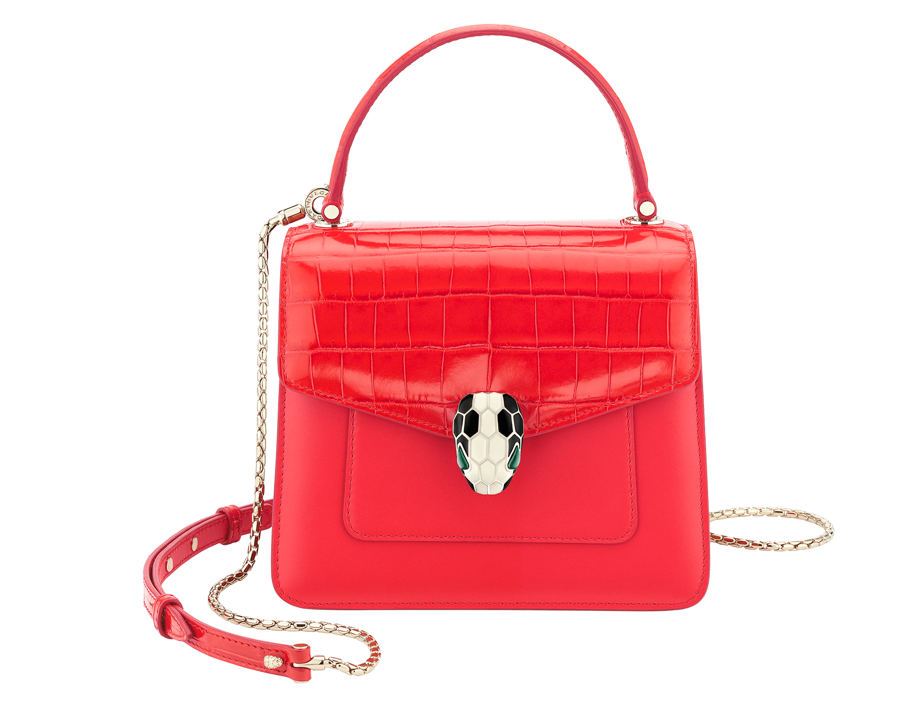 Serpenti Forever crossbody bag in sea star coral shiny croco skin and smooth calf leather. Snakehead closure in light gold plated brass decorated with black and white enamel, and green malachite eyes. 288491 image 1