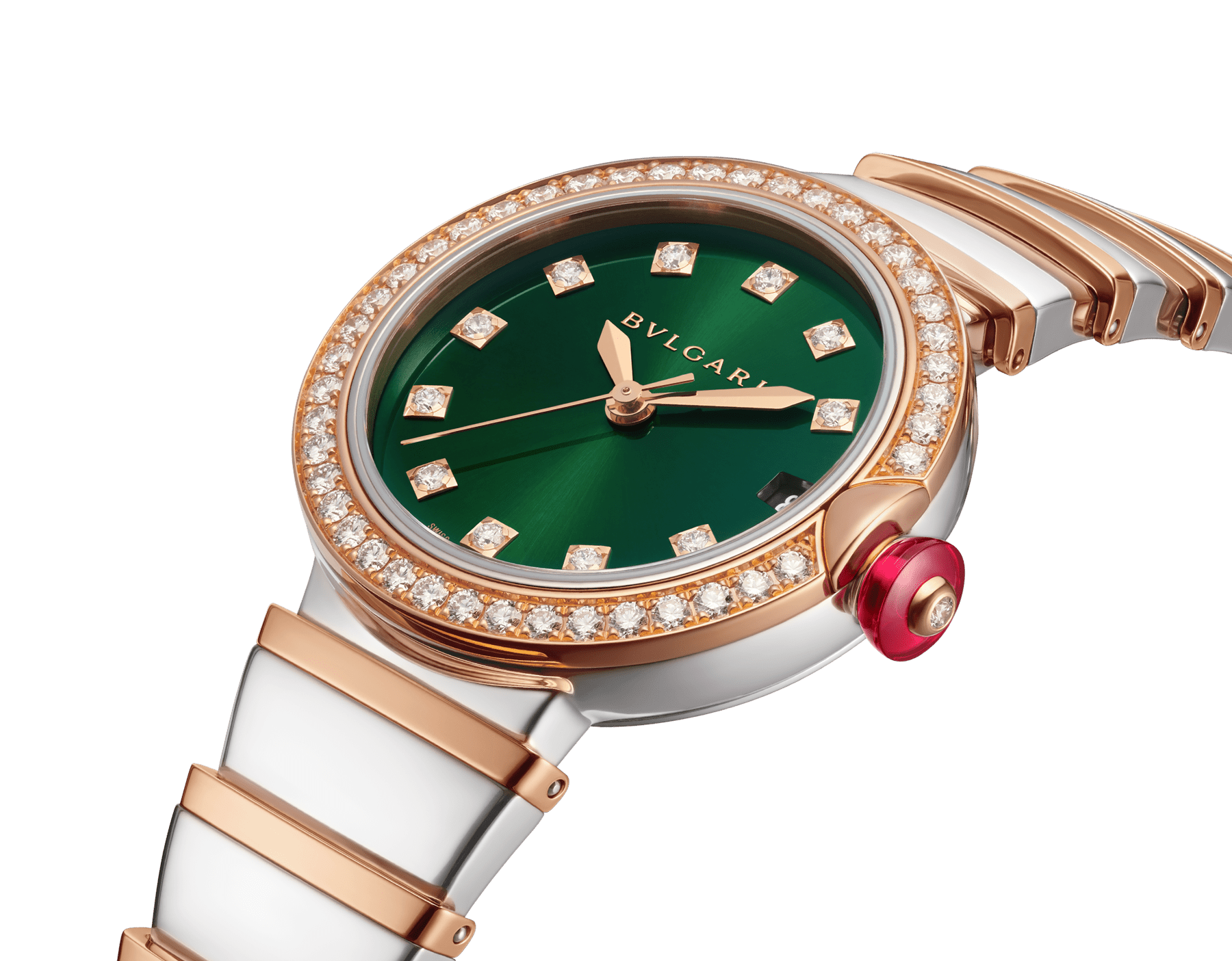 LVCEA watch with stainless steel case, 18 kt rose gold bezel set with brilliant-cut diamonds, green dial, diamond indexes, date opening, stainless steel and 18 kt rose gold bracelet. Exclusive Edition for Middle East 103289 image 2