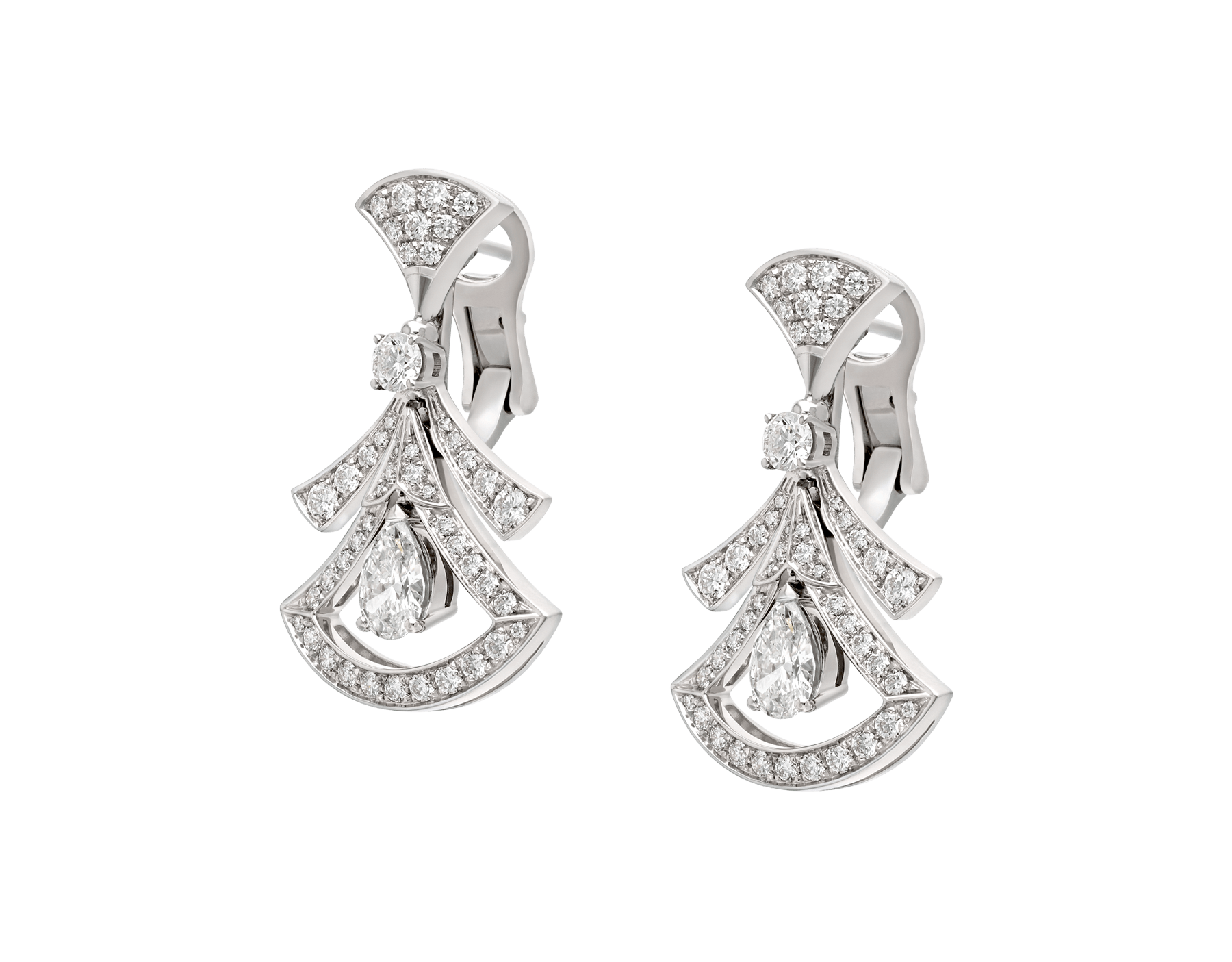 Divas' Dream 18 kt white gold openwork earrings set with two pear-shaped diamonds (1.40 ct), two round brilliant-cut diamonds (0.30 ct) and pavé diamonds (1.18 ct) 358221 image 2