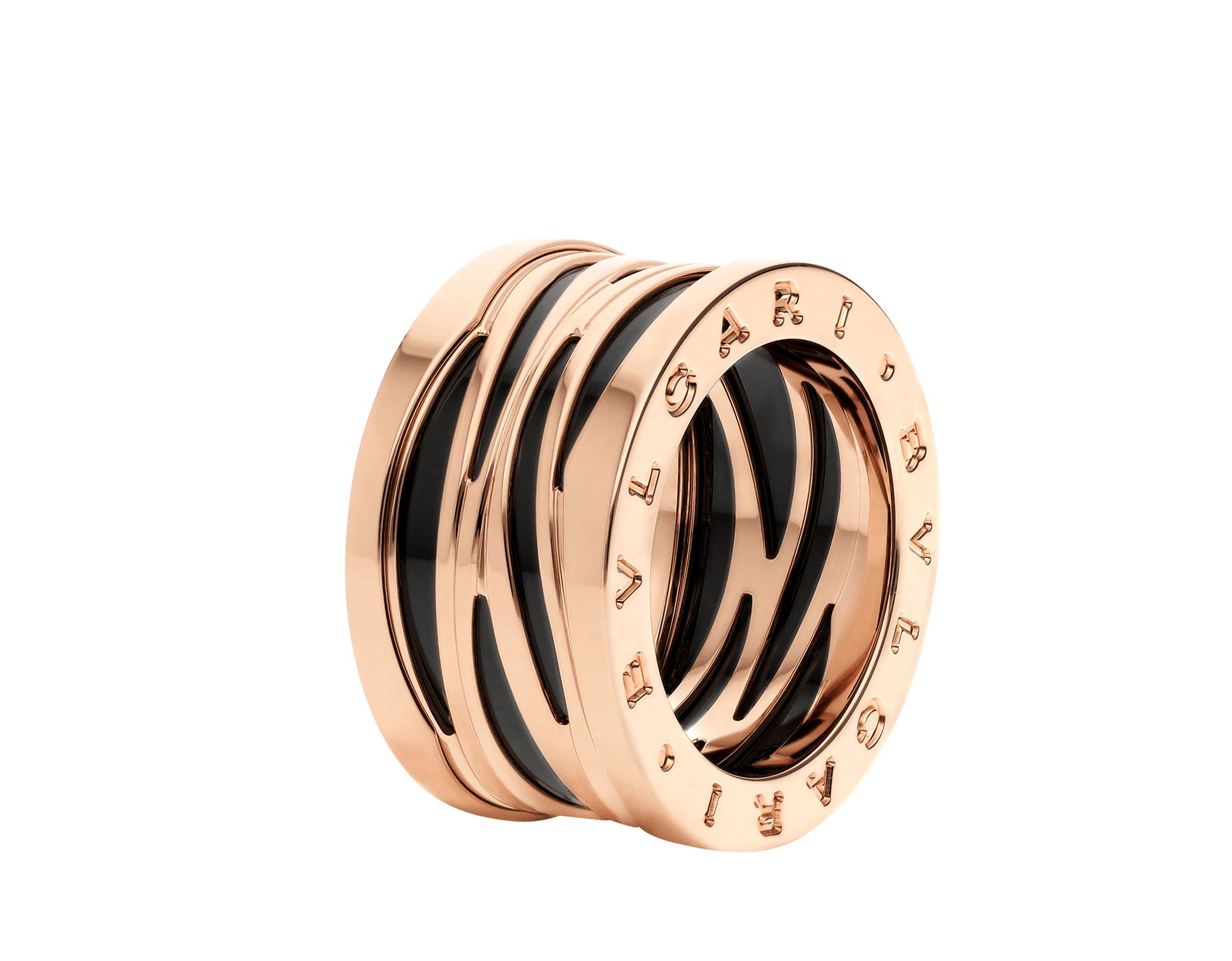 B.zero1 Design Legend four-band ring in 18 kt rose gold and black ceramic AN858575 image 1