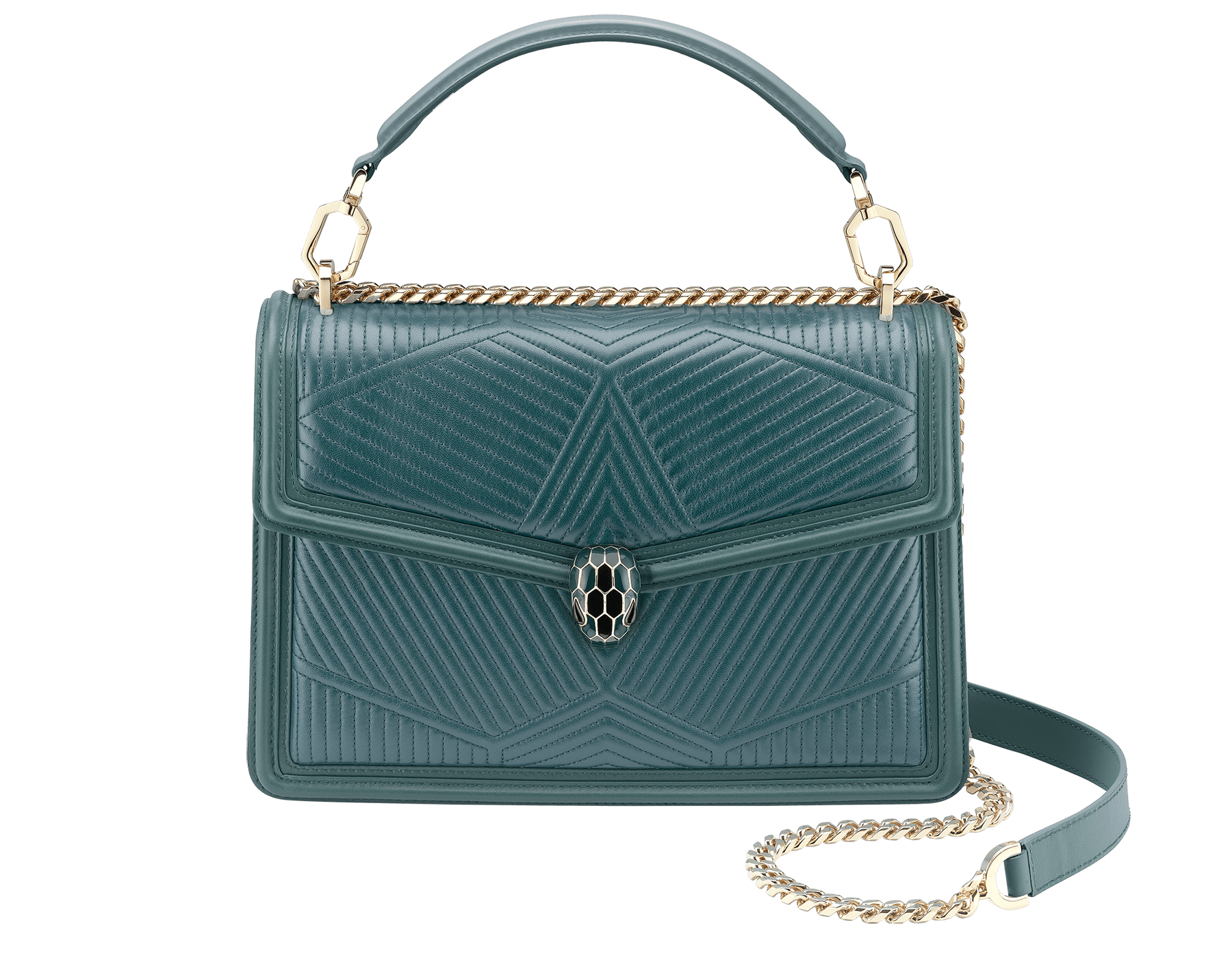 """""""Serpenti Diamond Blast"""" shoulder bag in quilted, agate-white nappa leather with Royal Sapphire blue and black calfskin edging and Royal Sapphire blue nappa leather inner lining. Iconic snakehead closure in light gold-plated brass embellished with black and agate-white enamel and black onyx eyes. 973-FQDa image 1"""