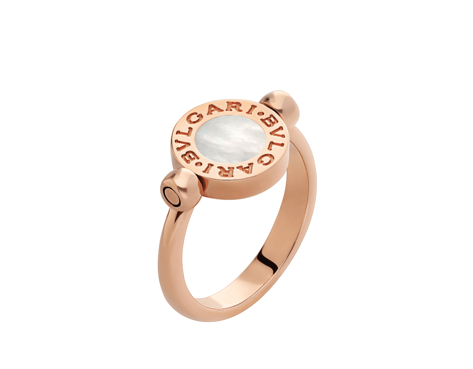 BVLGARI BVLGARI 18 kt rose gold flip ring set with mother-of-pearl and pavé diamonds AN857171 image 3