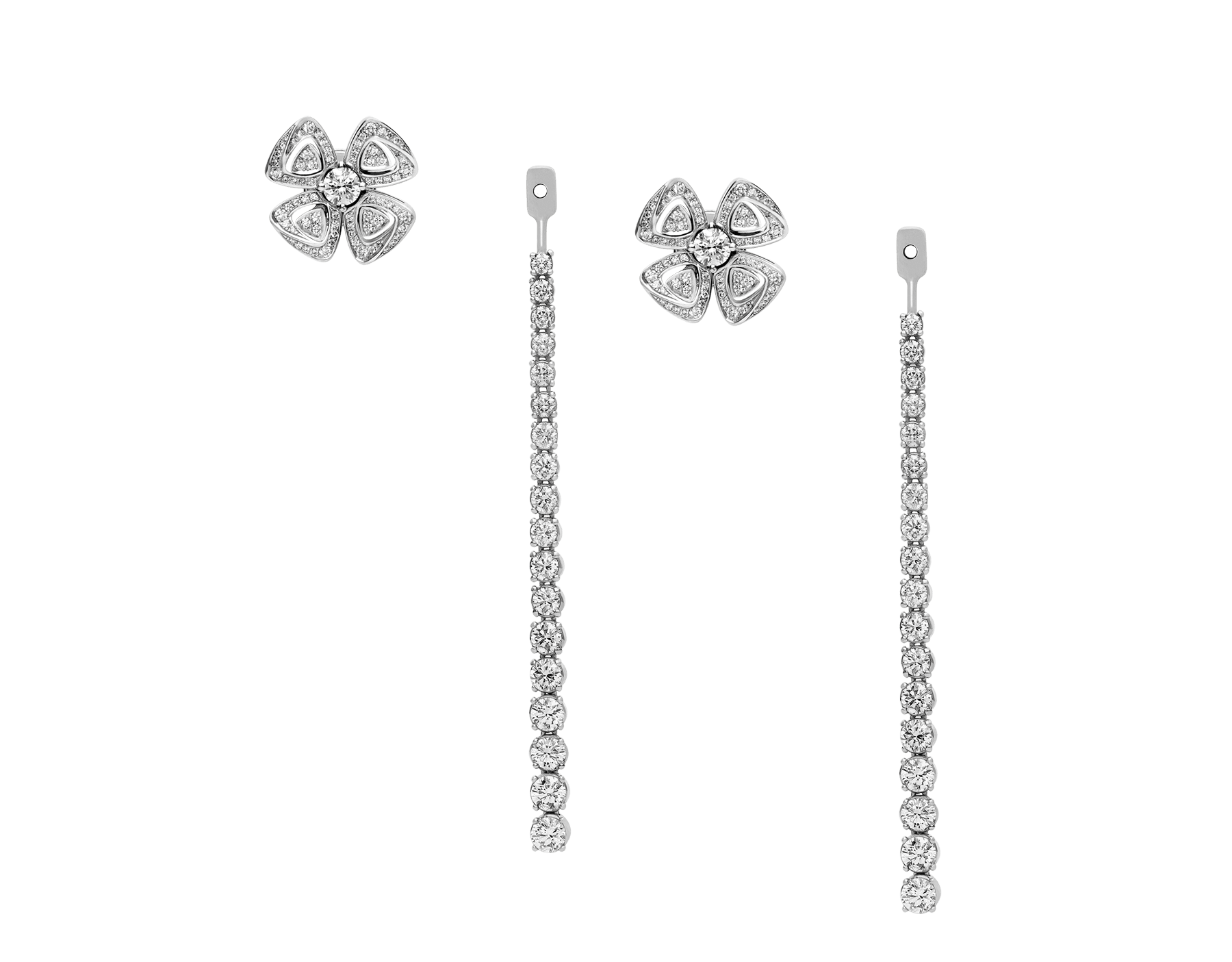 Fiorever 18 kt white gold convertible earrings set with brilliant-cut diamonds (2.81 ct) and pavé diamonds (0.26 ct) 358158 image 1