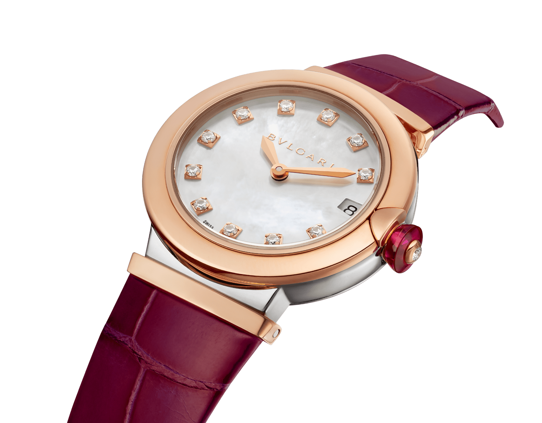 LVCEA watch with 18 kt rose gold and stainless steel case, white mother-of-pearl dial set with diamond indexes, date aperture and burgundy alligator bracelet. 102639 image 3