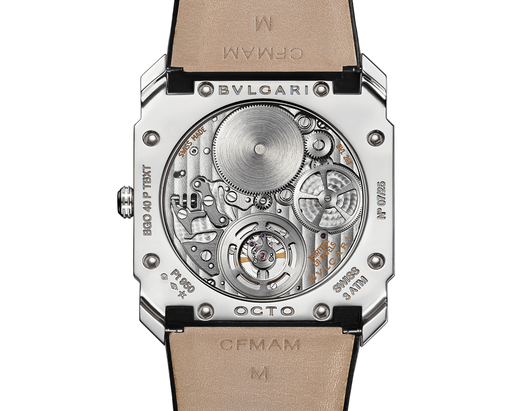 Octo Finissimo Tourbillon Limited Edition watch with extra thin mechanical manufacture movement and manual winding, platinum case, bezel set with baguette-cut diamonds, black lacquered dial with tourbillon see-through opening and black alligator bracelet. 102401 image 4