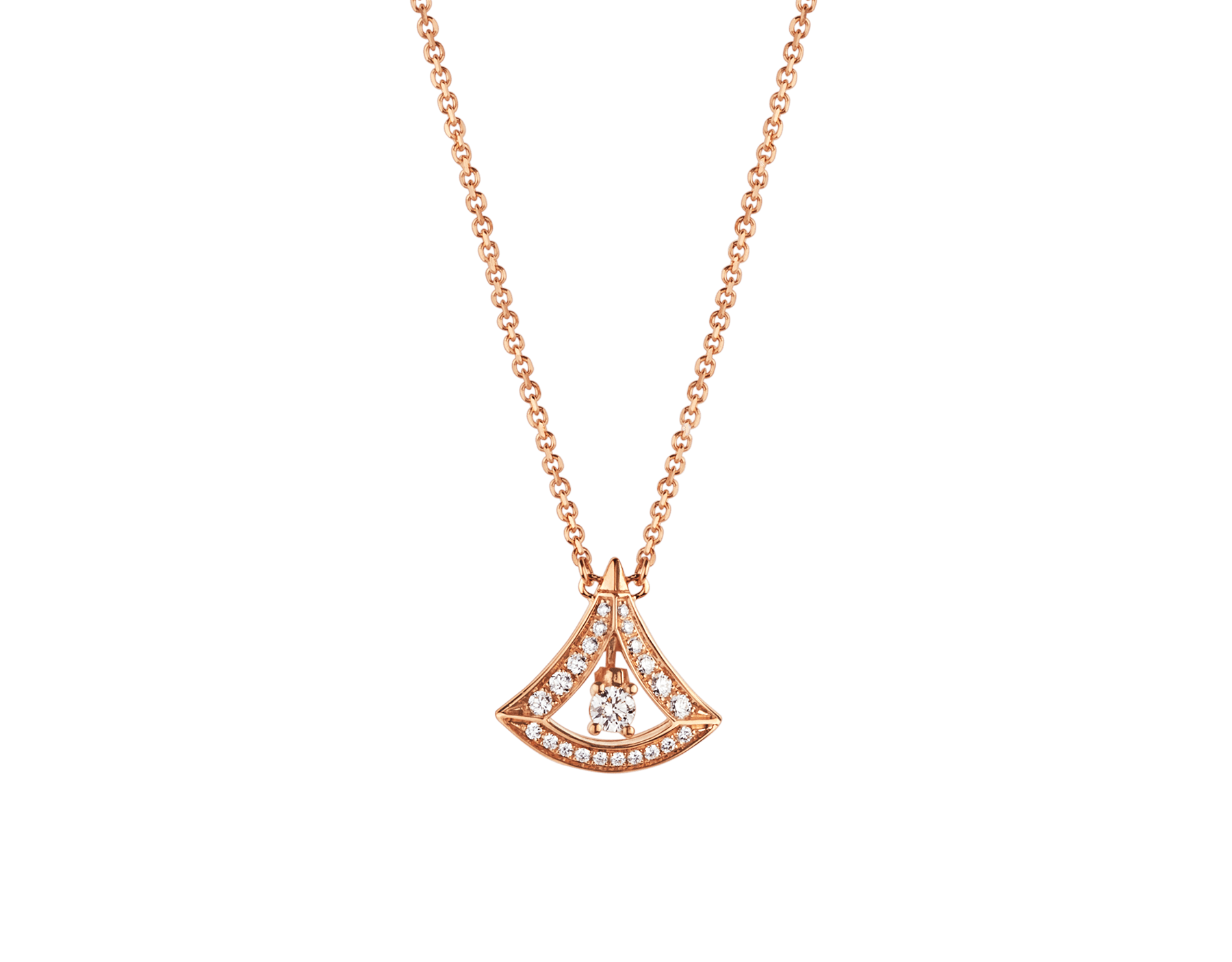 DIVAS' DREAM 18 kt rose gold openwork necklace with 18 kt rose gold pendant set with a central diamond and pavé diamonds. 354363 image 1