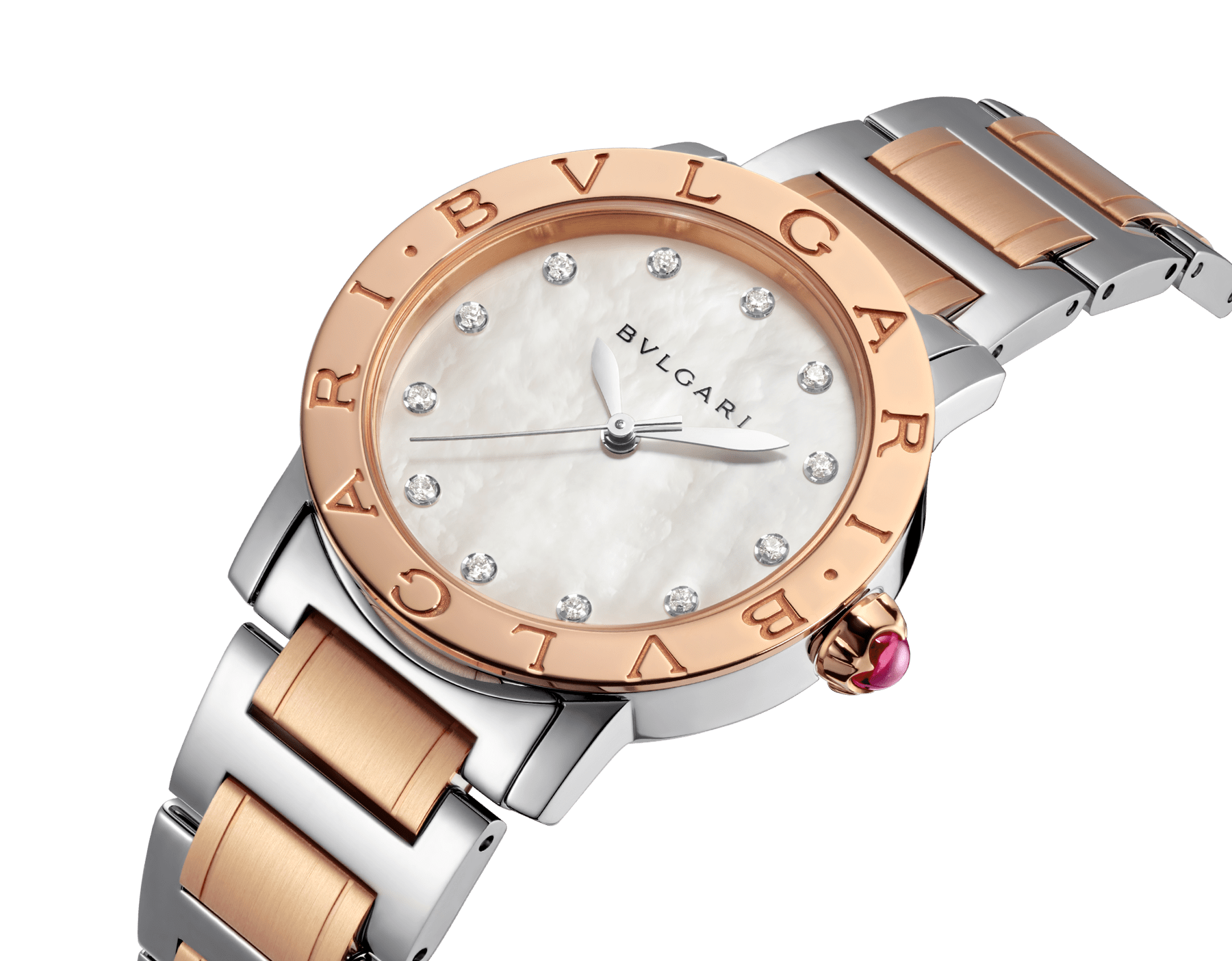 BVLGARI BVLGARI watch in 18 kt rose gold and stainless steel case and bracelet, with white mother-of-pearl dial and diamond indexes. Medium model 101891 image 2