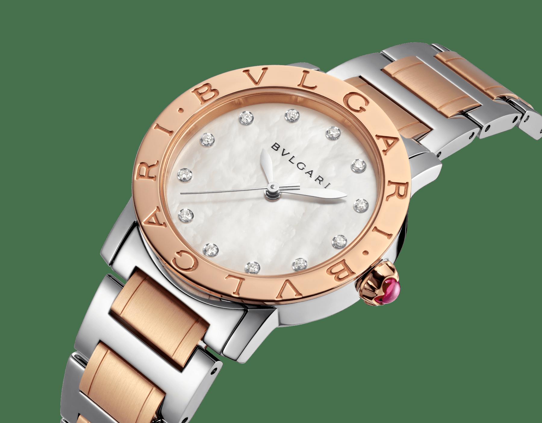 Orologio BVLGARI BVLGARI con cassa e bracciale in acciaio inossidabile e oro rosa 18 kt, quadrante bianco in madreperla e indici con diamanti. Misura media. 101891 image 2