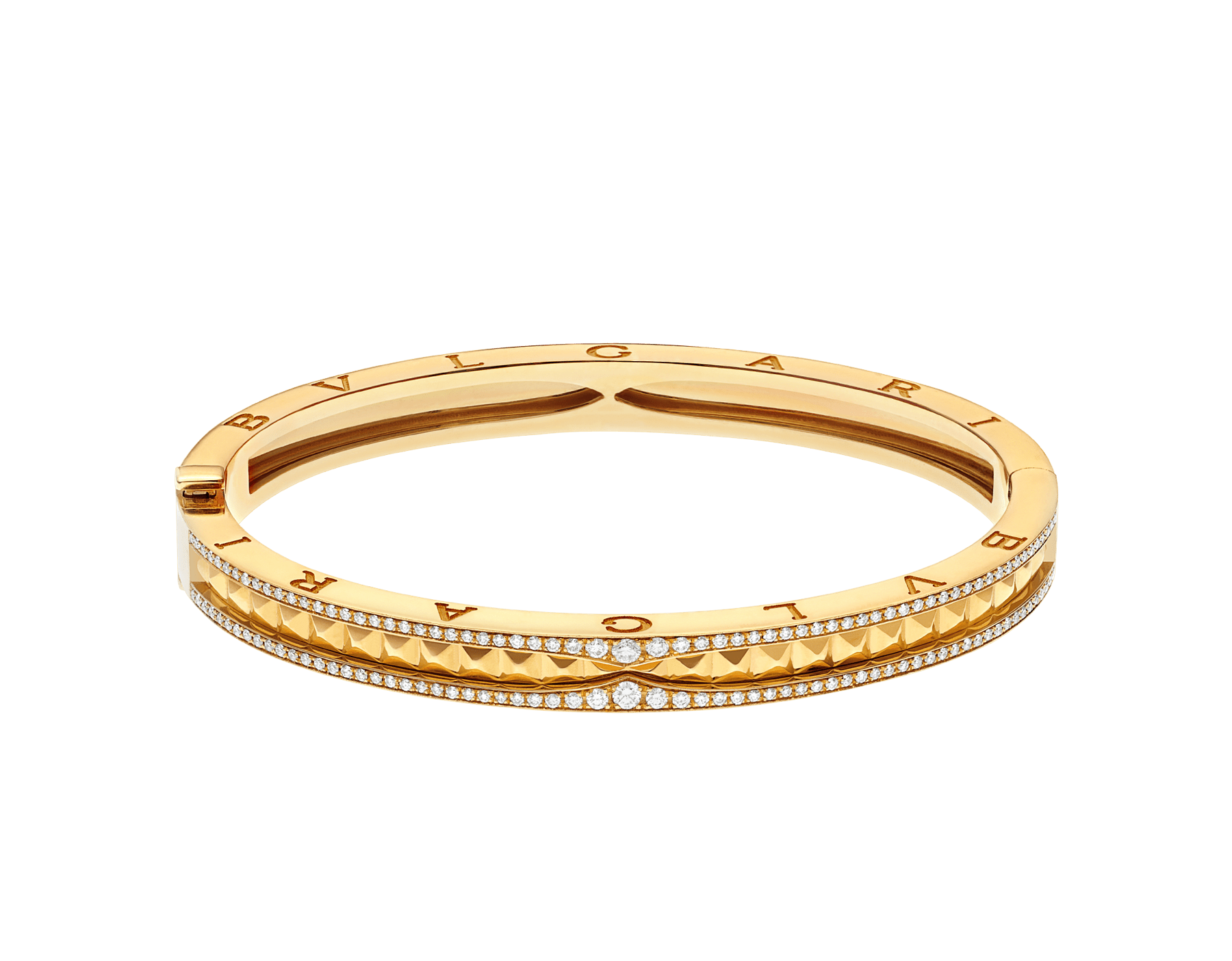 B.zero1 Rock 18 kt yellow gold bracelet with studded spiral and pavé diamonds on the edges BR859028 image 2