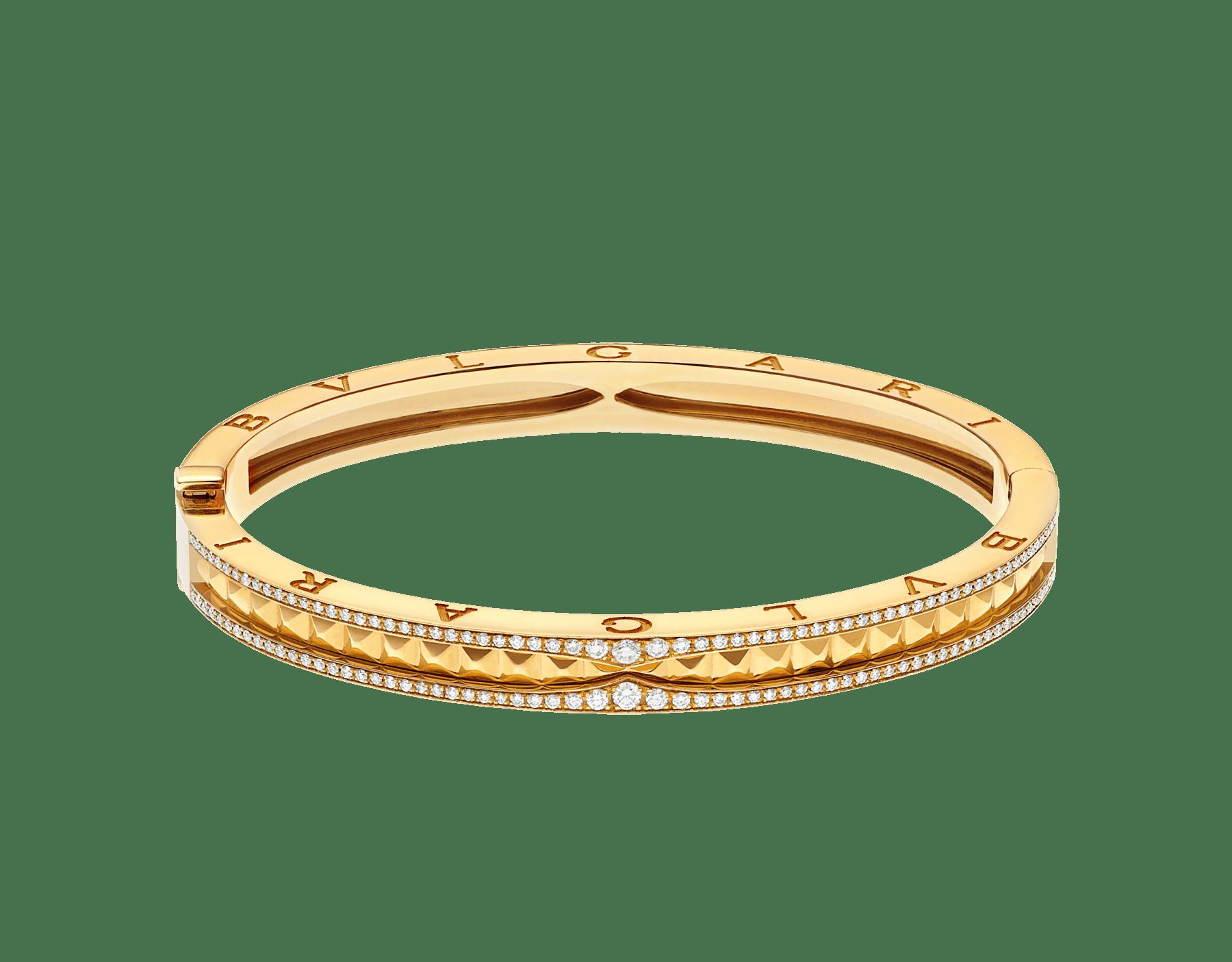 Bracelet B.zero1 Rock en or jaune 18K avec spirale cloutée et pavé diamant sur les bords. BR859028 image 2