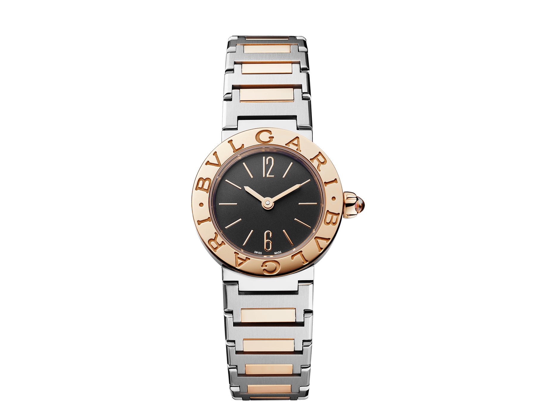 Relógio BVLGARI BVLGARI LADY com caixa em aço inoxidável, bezel em ouro rosa 18K gravado com o logotipo duplo, mostrador preto laqueado e pulseira em ouro rosa 18K e aço inoxidável 102944 image 1