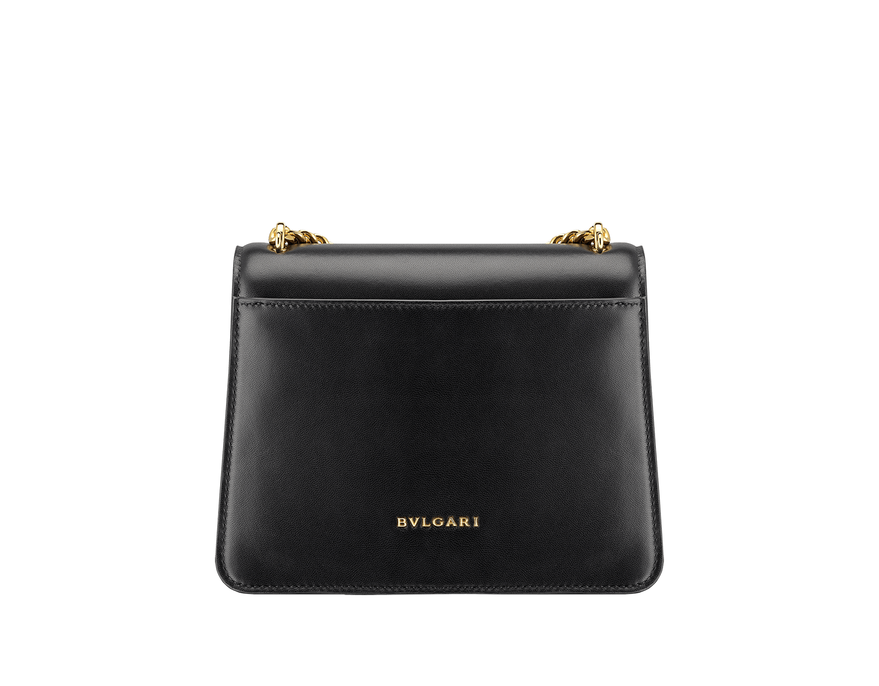 """""""Serpenti Forever"""" small maxi chain crossbody bag in black nappa leather, with black nappa leather inner lining. New Serpenti head closure in gold-plated brass, finished with small black onyx scales in the middle, and red enamel eyes. 291050 image 4"""
