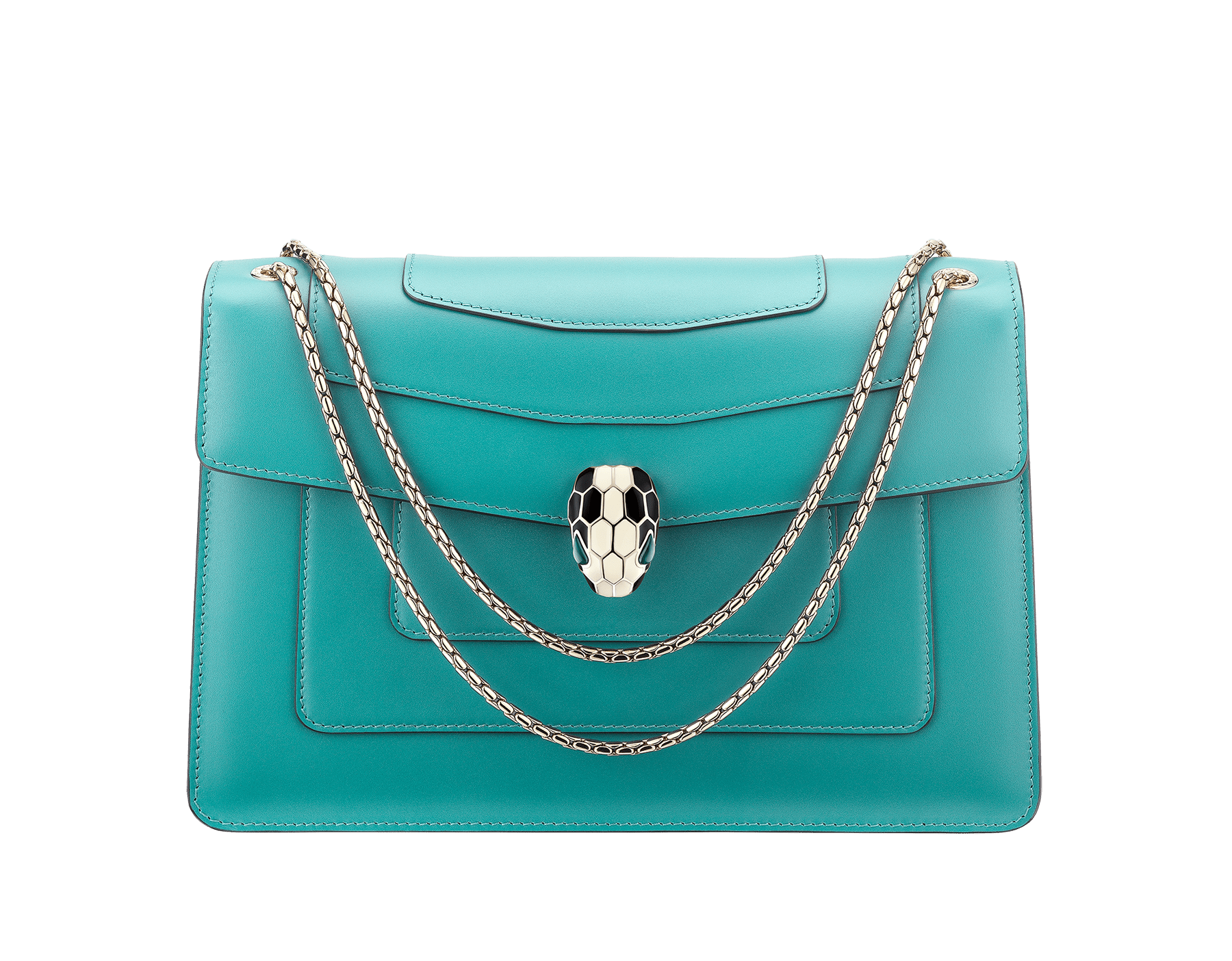 Serpenti Forever shoulder bag in arctic jade calf leather. Iconic snakehead closure in light gold plated brass embellished with black and white enamel and green malachite eyes. 288701 image 1