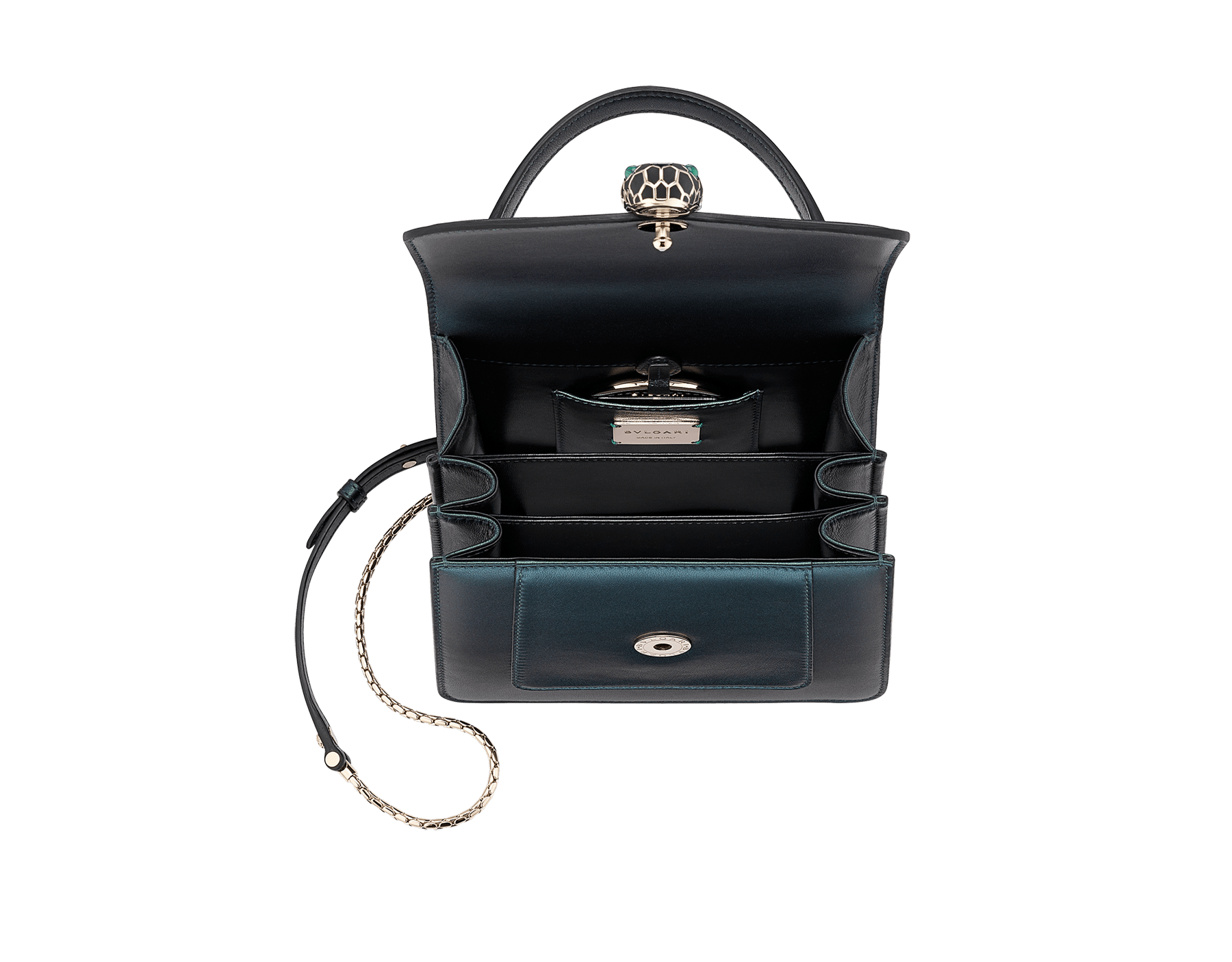 """Serpenti Forever "" crossbody bag in pearled emerald nappa leather. Iconic snakehead closure in light gold plated brass enriched with black and forest emerald enamel and green malachite eyes. Special Edition. 289837 image 4"