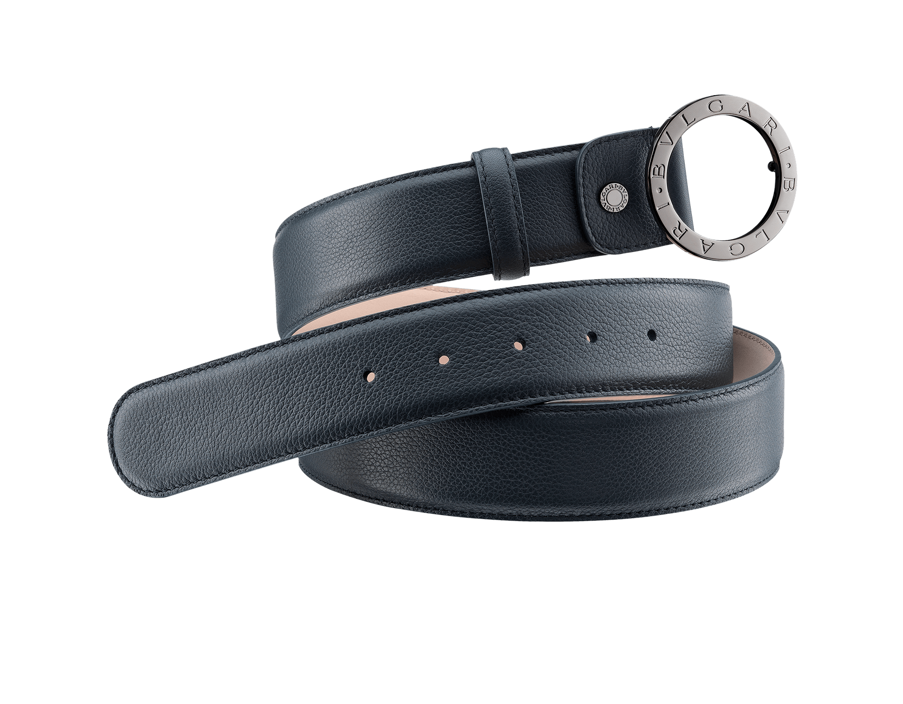 Man Belt in denim sapphire full grain calf leather with iconic round BVLGARI BVLGARI closure in dark ruthenium plated hardware. Also available in other colours and materials in-store. Resizable/Adjustable 281921 image 1