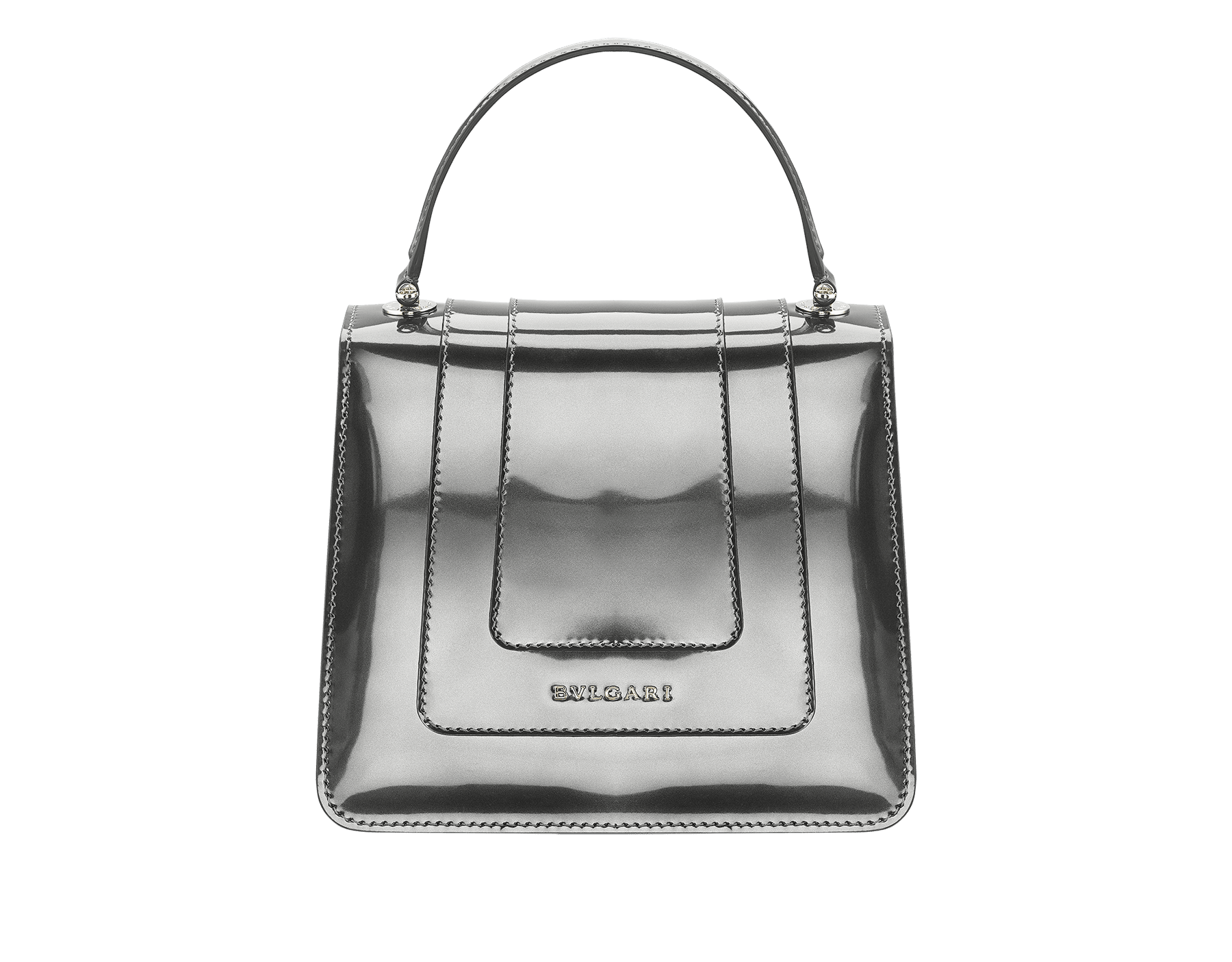 Flap cover bag Serpenti Forever in antique bronze brushed metallic calf leather. Brass light gold plated hardware and snake head closure in black and white enamel with eyes in green malachite. Test-Borse-Colore image 3