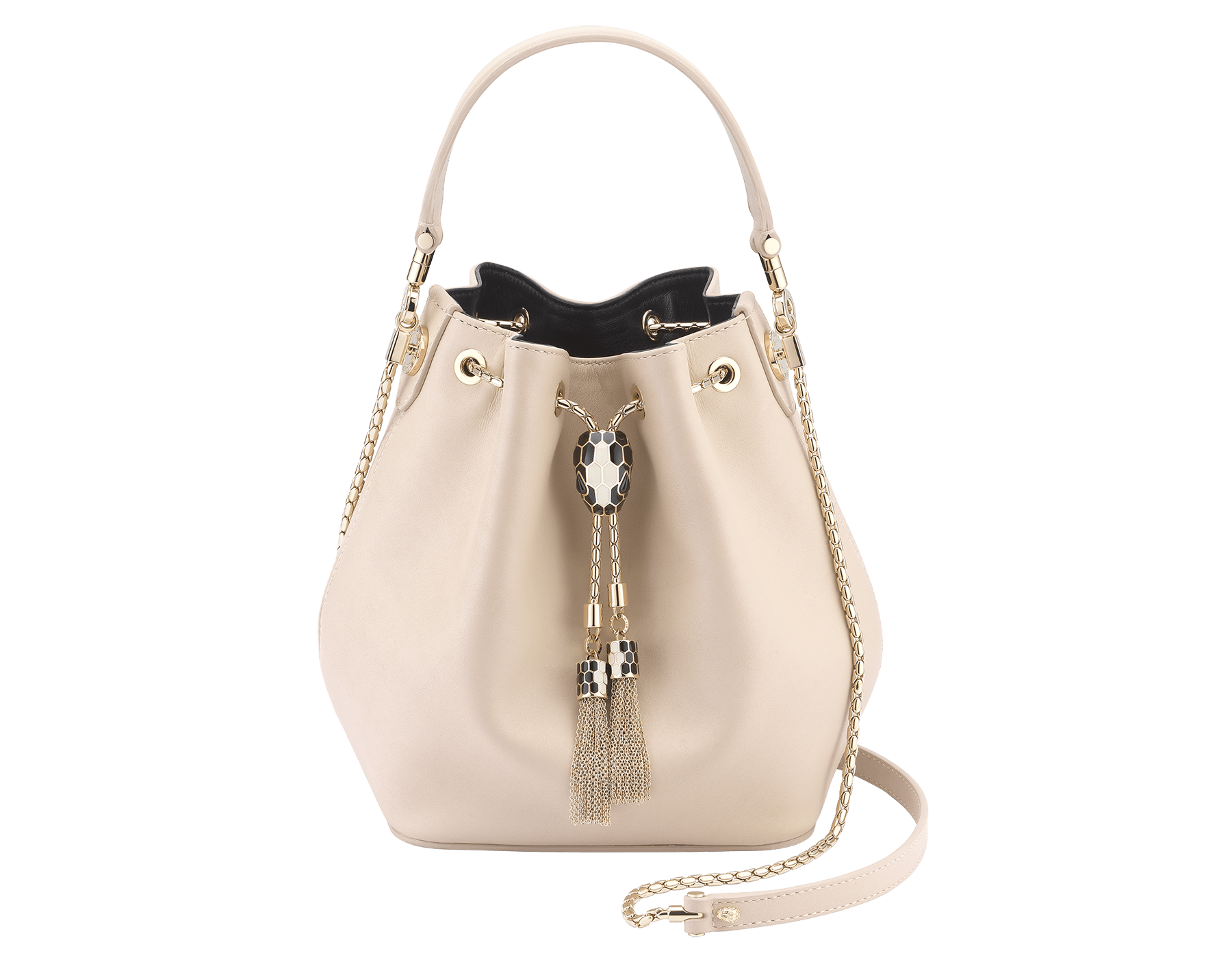 Bucket Serpenti Forever in glacier turquoise smooth calf leather and crystal rose nappa internal lining. Hardware in light gold plated brass and snakehead closure in black and white enamel, with eyes in black onyx. 934-CLb image 1
