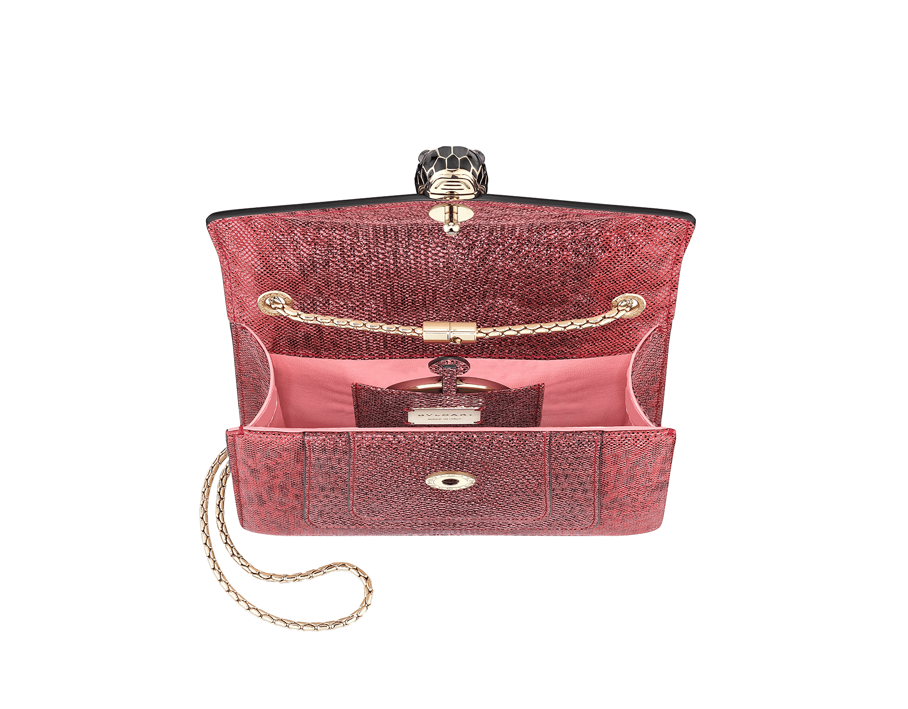 """Serpenti Forever "" crossbody bag in ruby red metallic karung skin. Iconic snakehead closure in light gold plated brass enriched with glitter red and shiny black enamel and black onyx eyes 422-MK image 2"