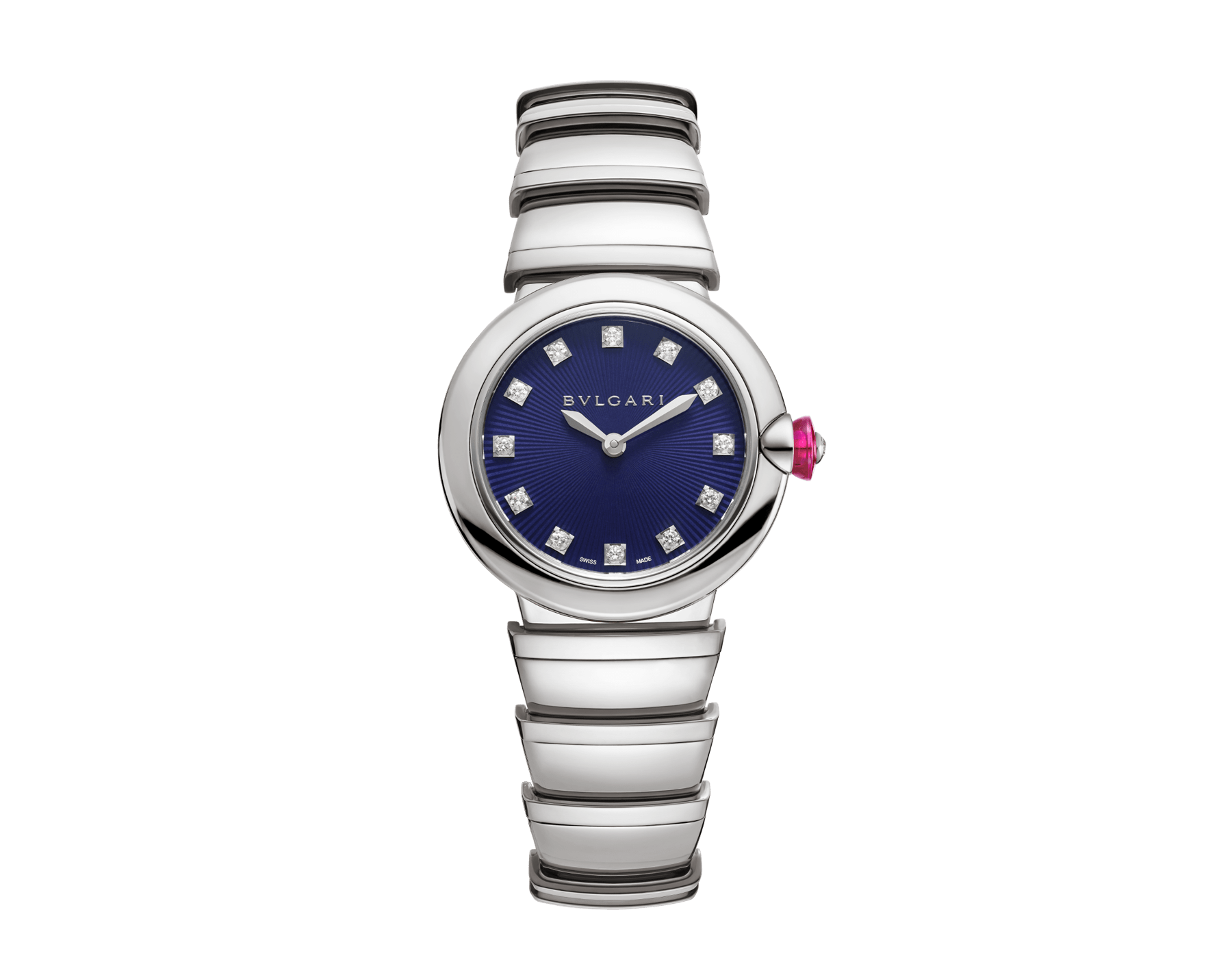 LVCEA watch in stainless steel case and bracelet, with blue dial and diamond indexes. 102568 image 1