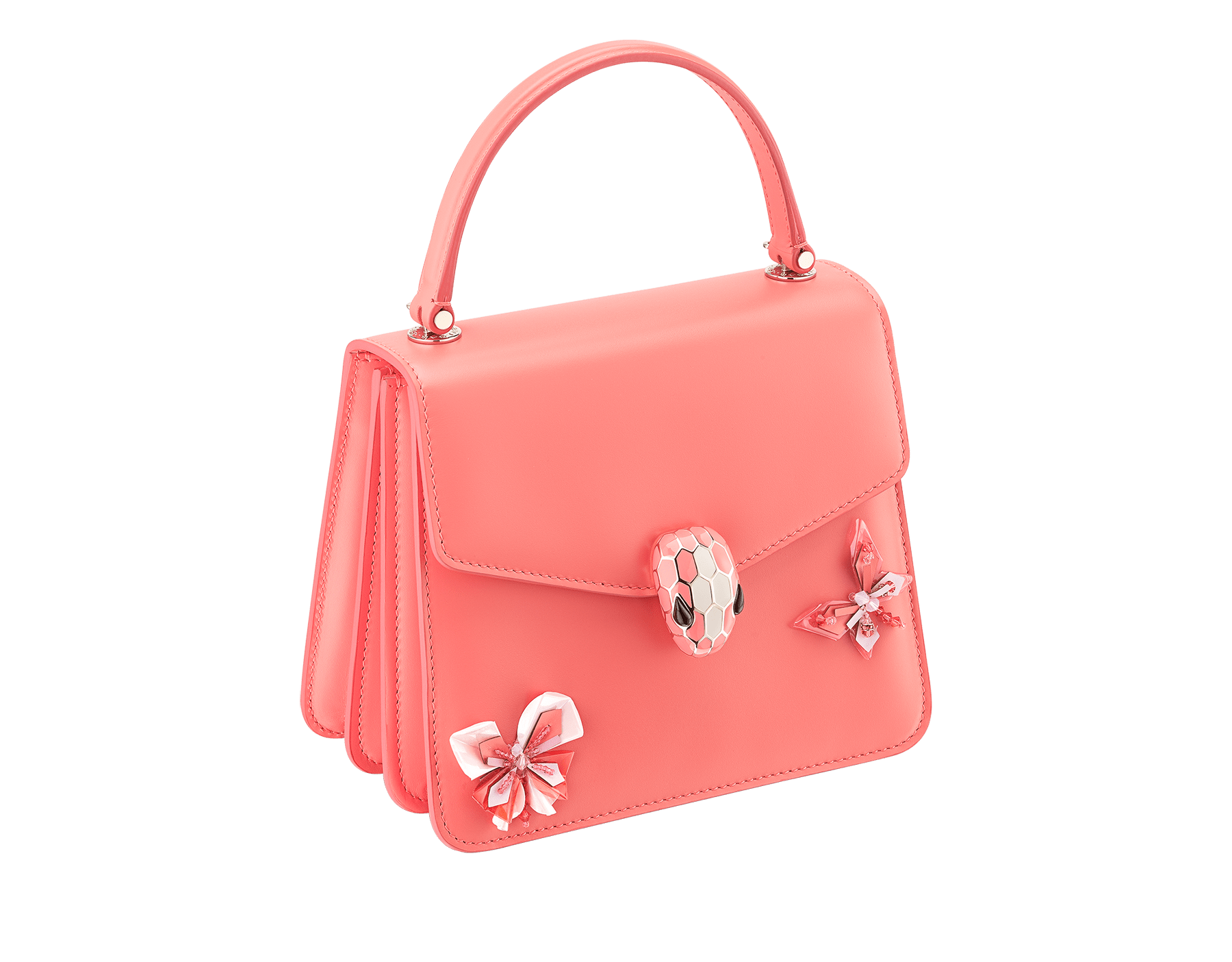 """Serpenti Forever "" crossbody bag in silky coral calf leather with two silky coral butterflies embroidered. Iconic snakehead closure in light gold plated brass enriched with silky coral and white agate enamel and black onyx eyes. 289248 image 2"