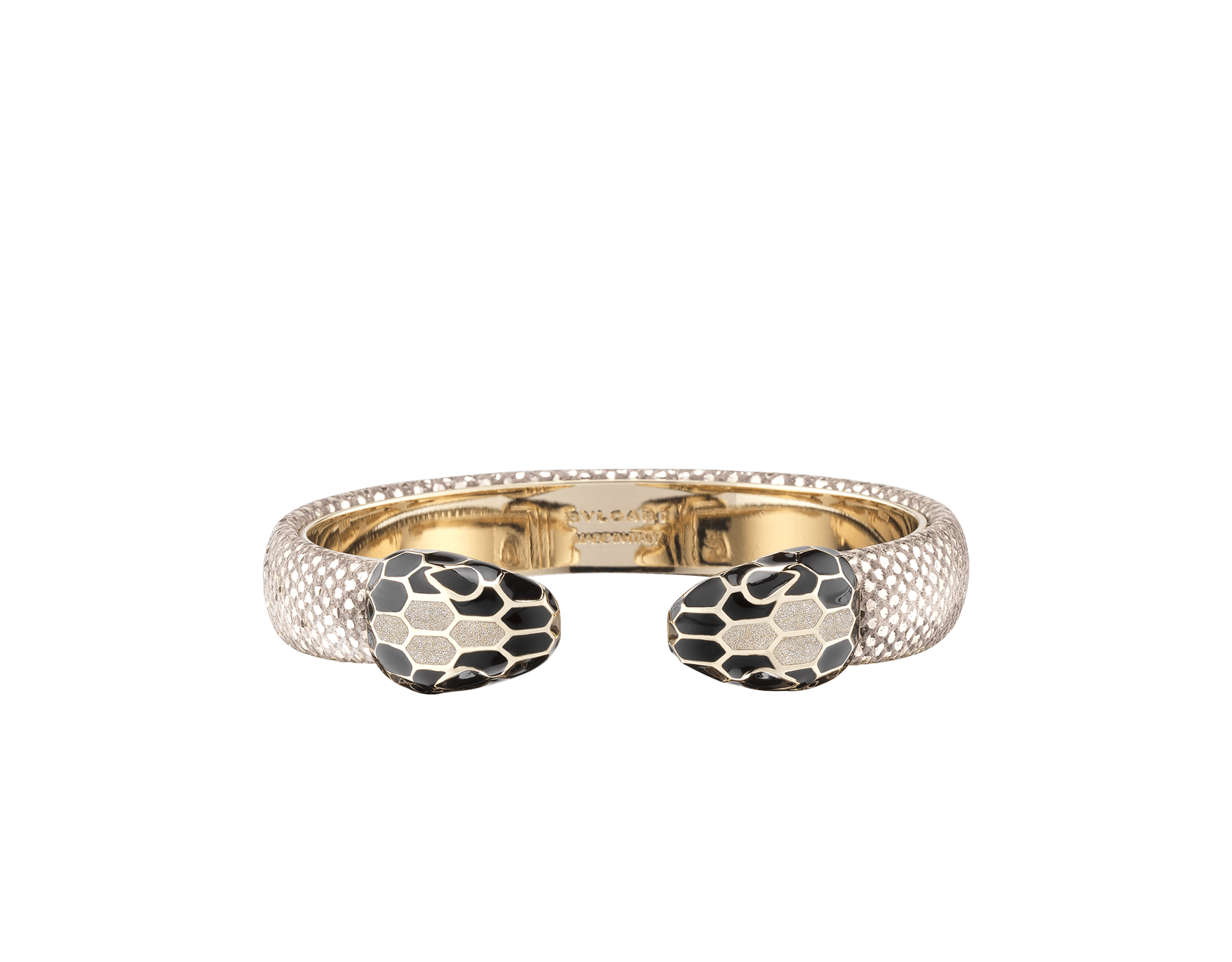 Serpenti Forever bangle bracelet in milky opal metallic karung skin, with brass light gold plated hardware. Iconic contraire snakehead décor in black and glitter milky opal enamel, with black enamel eyes. SPContr-MK-MO image 1