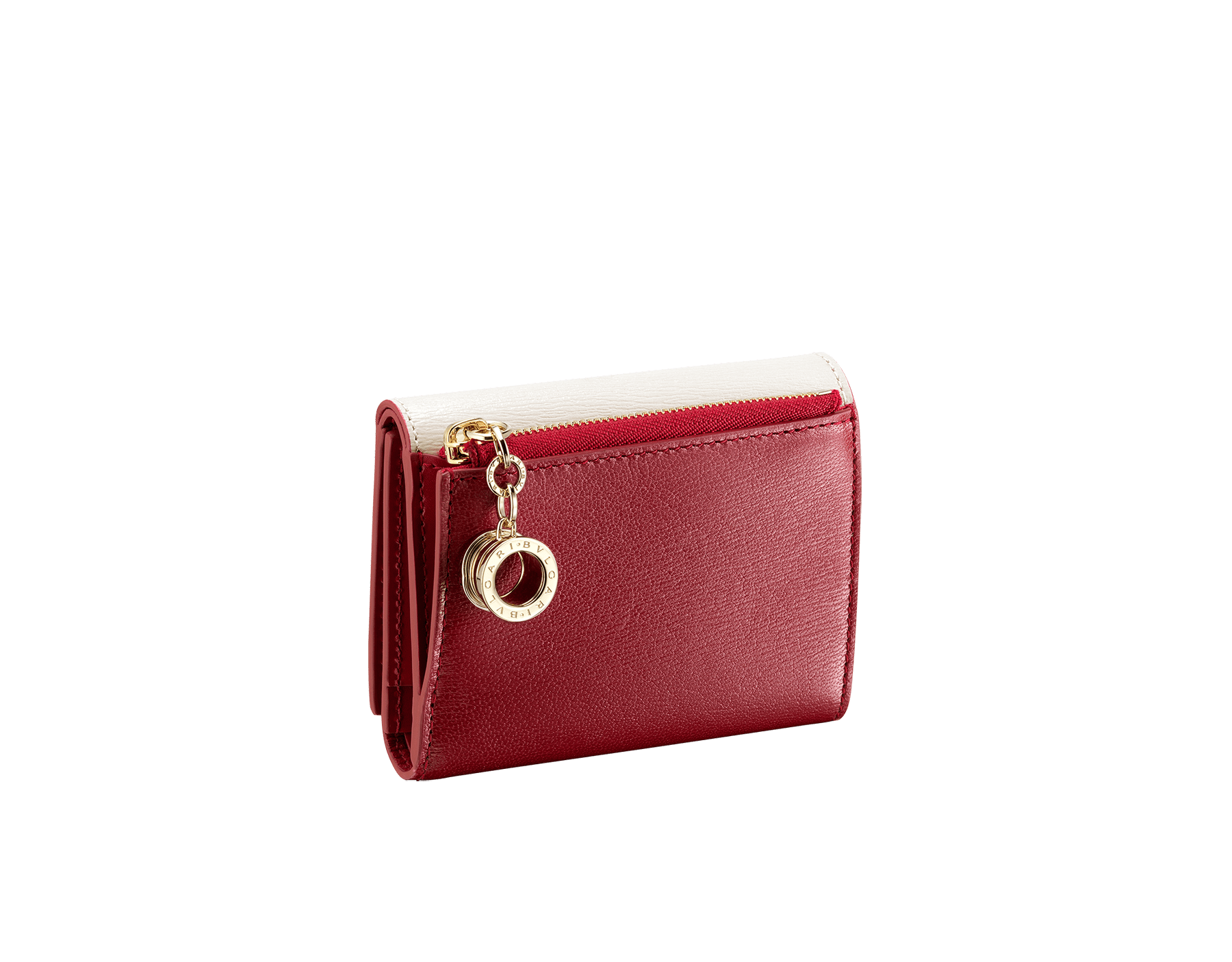 """B.zero1"" compact wallet in white agate and ruby red goatskin and ruby red calf leather. Iconic B.zero1 zipper in light gold plated brass and two press-stud closures. BZA-SLIMCOMPACTa image 3"