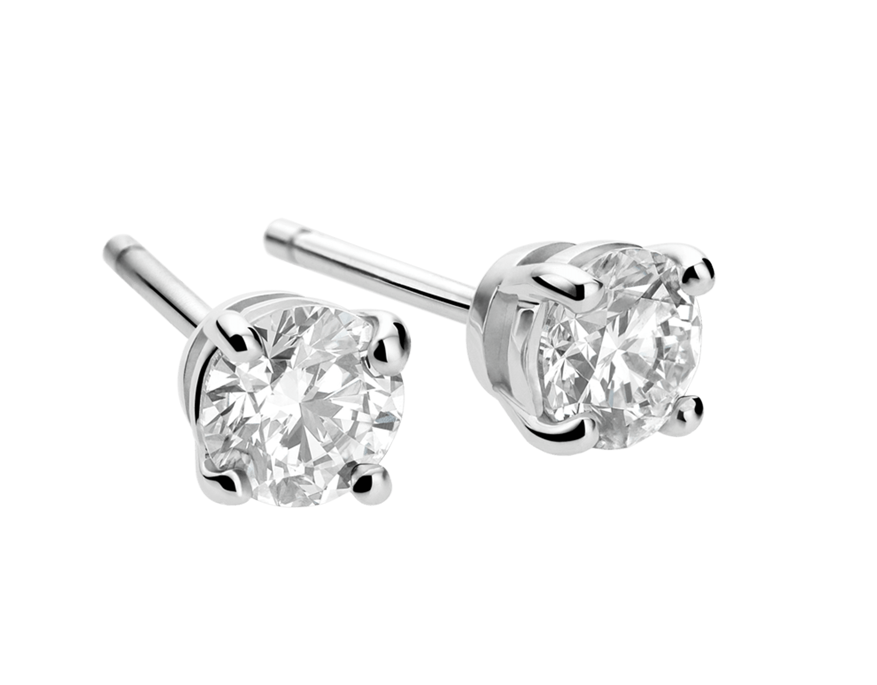 Griffe earrings in 18 kt white gold with 2 round brilliant cut diamonds. Available from 0.40 ct each. A classic setting that allows the beauty and the pureness of the solitaire diamond to assert itself OR-GRIFFE image 1