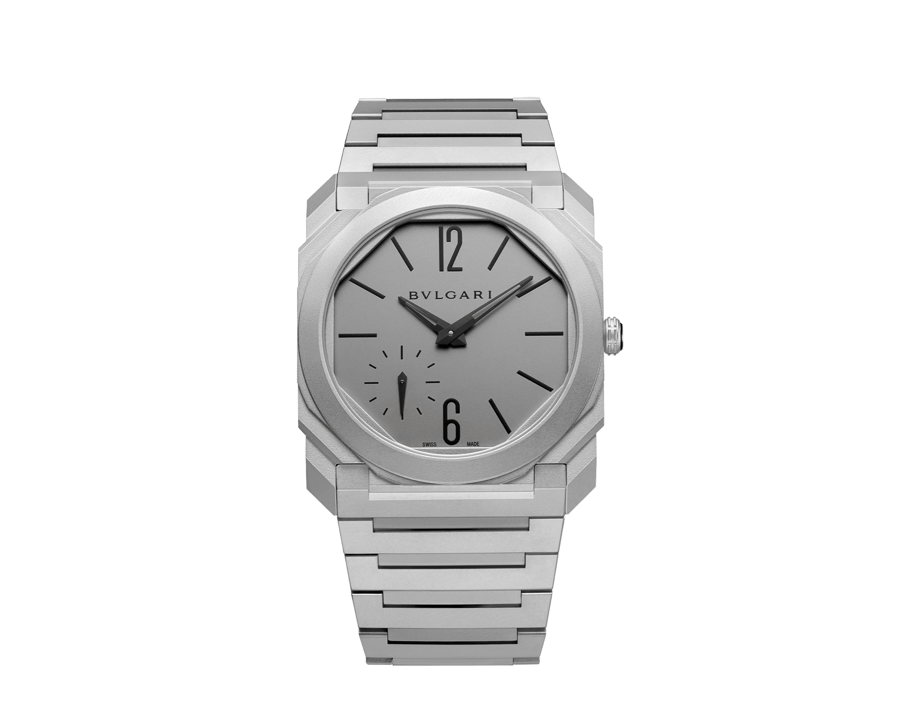 Octo Finissimo Automatic watch in titanium case and bracelet with extra thin mechanical manufacture movement, automatic winding, small seconds and titanium dial. 102713 image 1
