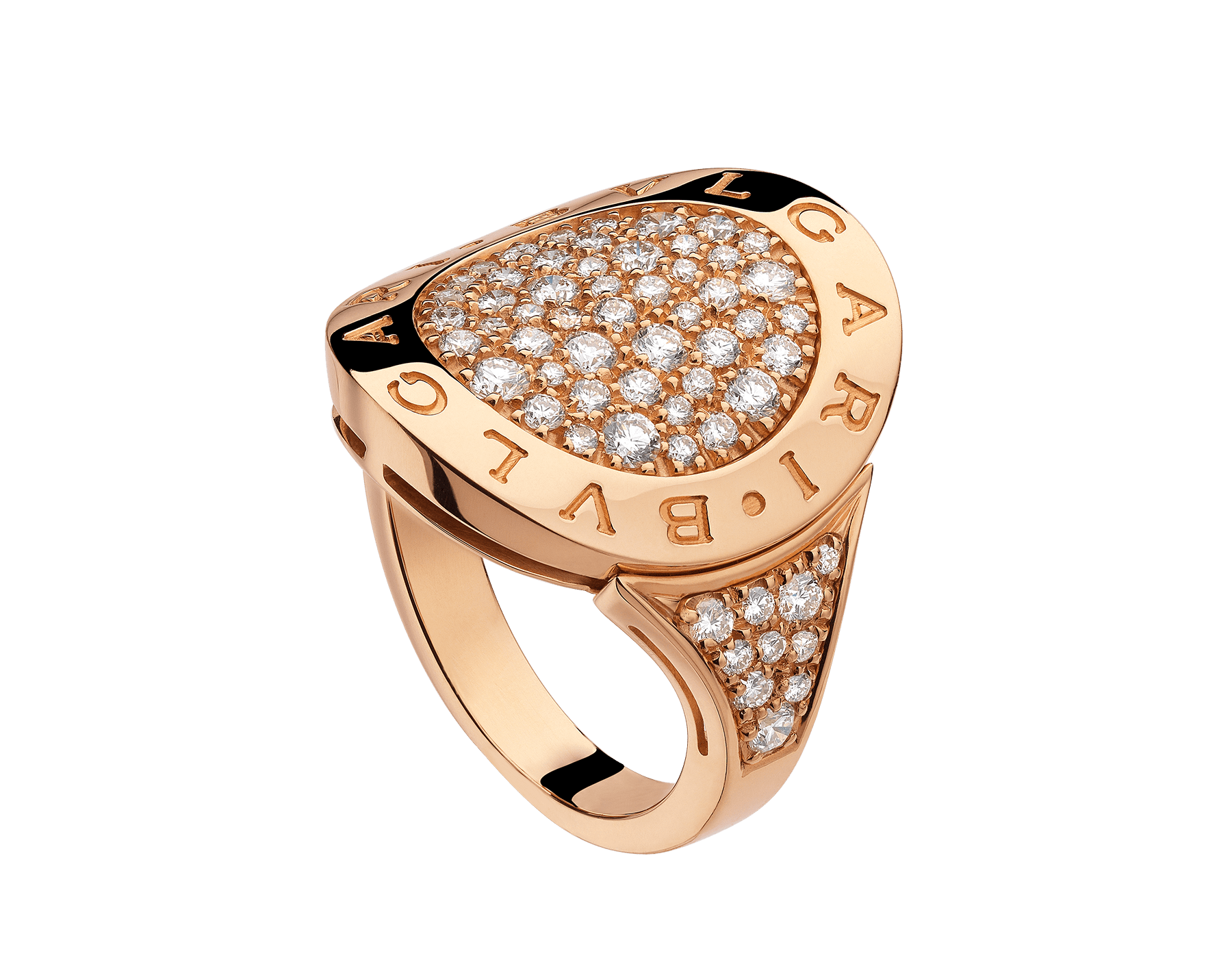 Bague BVLGARI BVLGARI en or rose 18 K pavé diamants AN854862 image 1