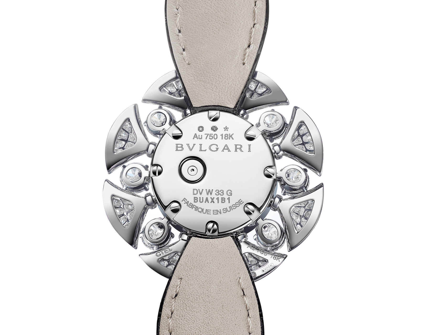 DIVAS' DREAM Divissima High Jewellery watch with 18 kt white gold case and mobile petals set with 8 large round brilliant-cut diamonds and other round brilliant-cut diamonds, pavé diamond dial and black alligator bracelet. Water-resistant up to 30 metres 103474 image 3