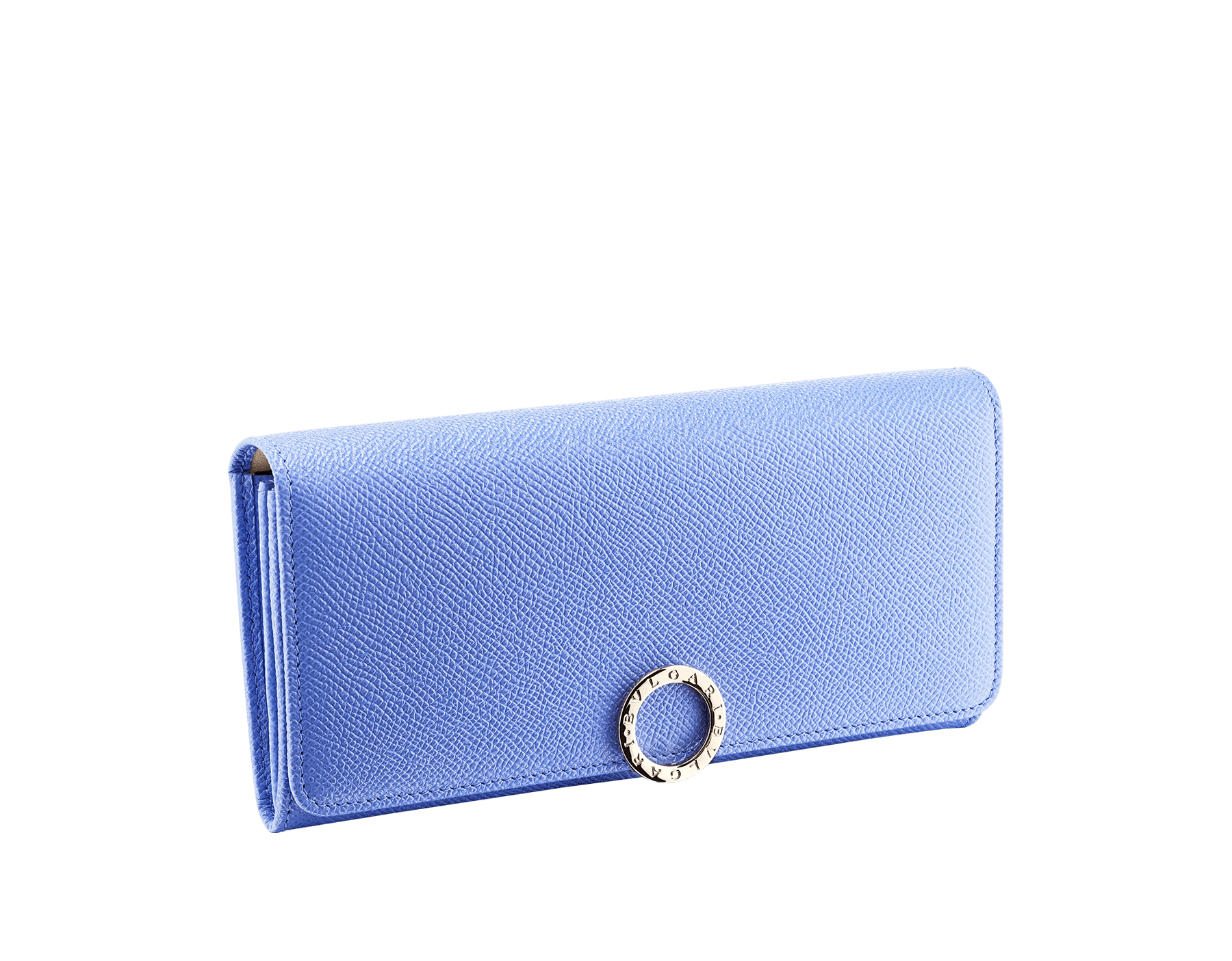 """""""BVLGARI BVLGARI"""" large wallet in Lavender Amethyst bright lilac grained calf leather and peach nappa leather. Iconic logo clip closure in light gold-plated brass. 579-WLT-SLI-POC-CLd image 1"""