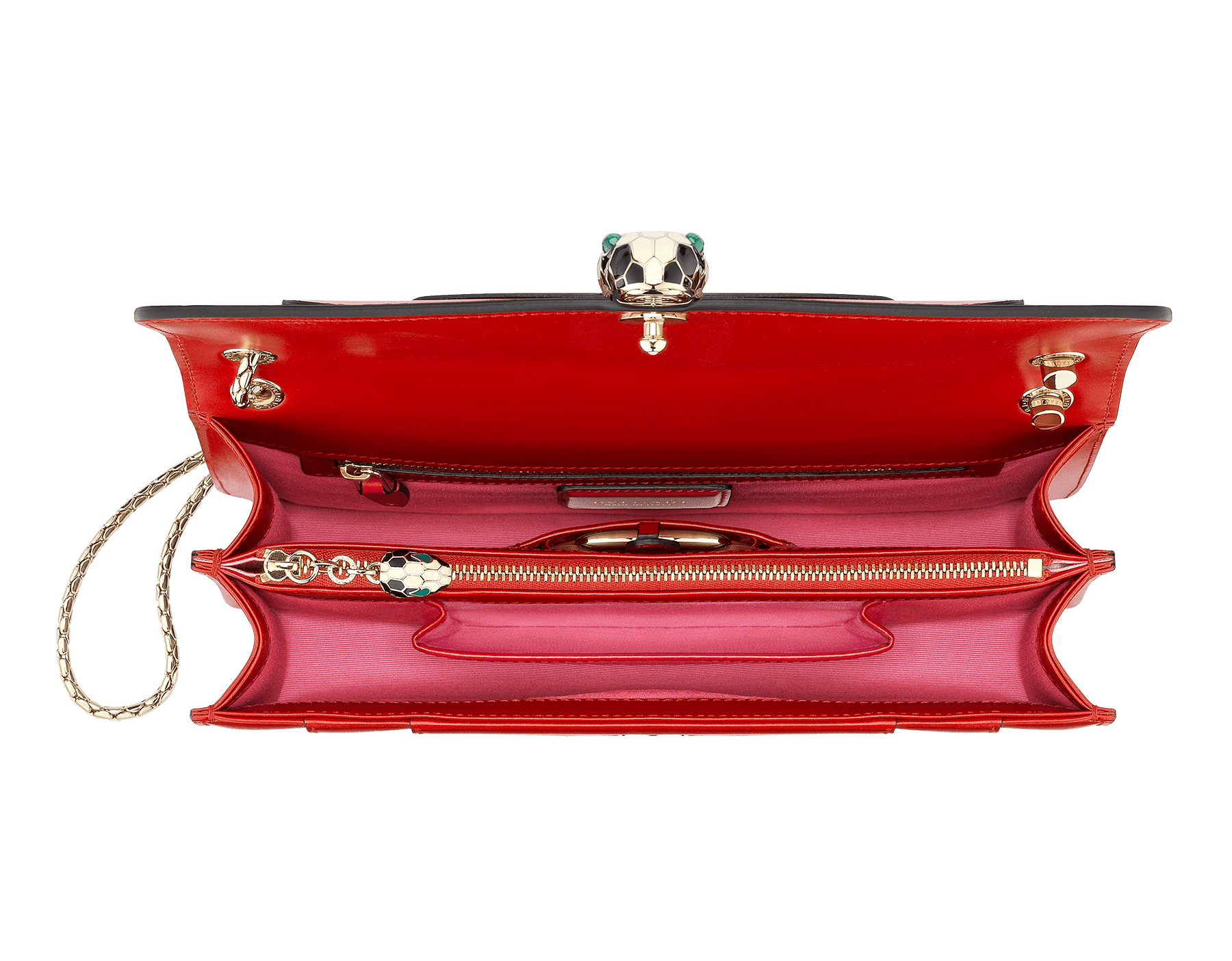 """Serpenti Forever "" shoulder bag in carmine jasper calf leather. Iconic snakehead closure in light gold plated brass enriched with black and white enamel and green malachite eyes 287033 image 4"