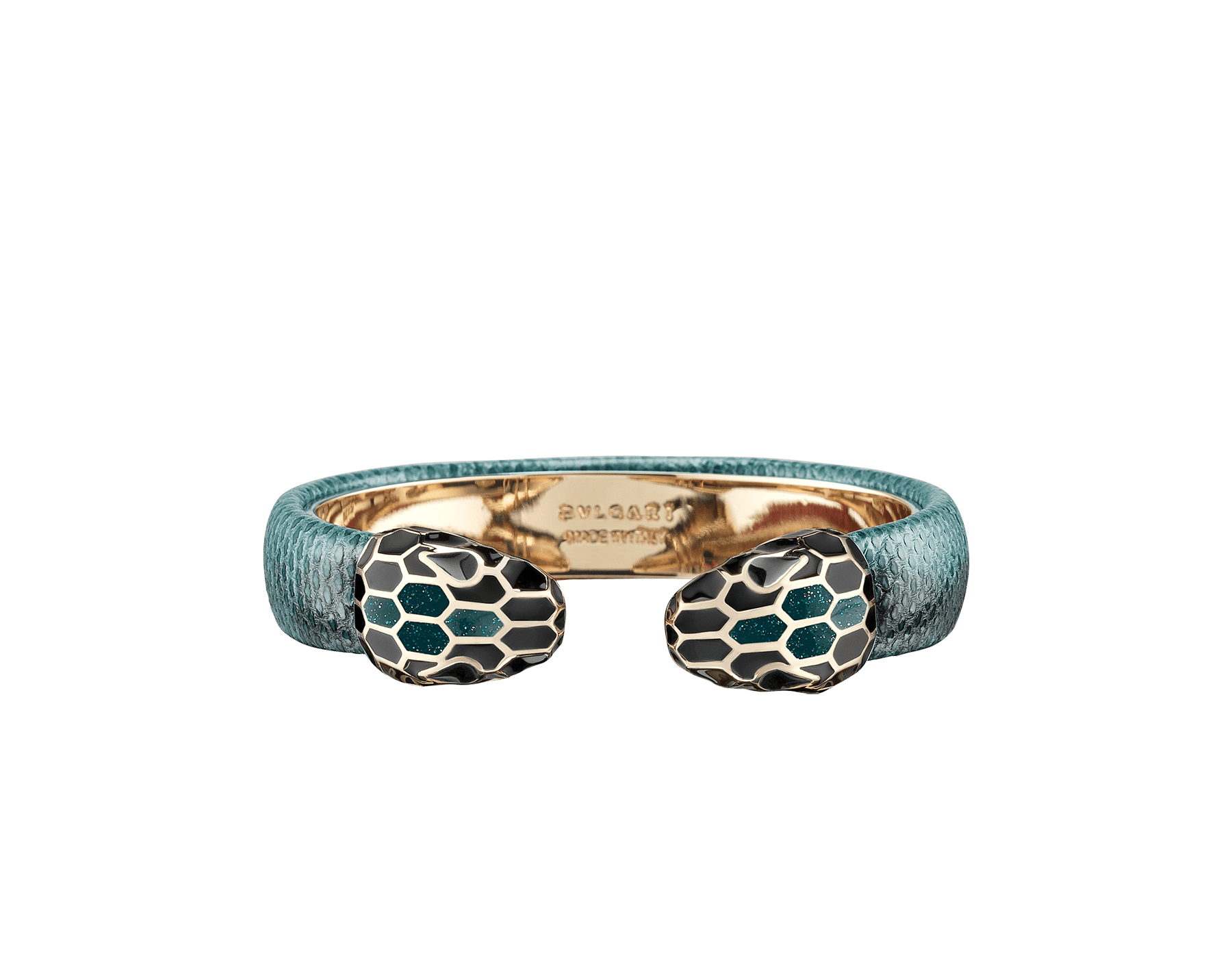 Serpenti Forever bangle bracelet in deep jade metallic karung skin, with brass light gold plated hardware. Iconic contraire snakehead décor in black and glitter deep jade enamel, with black enamel eyes. SPContr-MK-DJ image 1