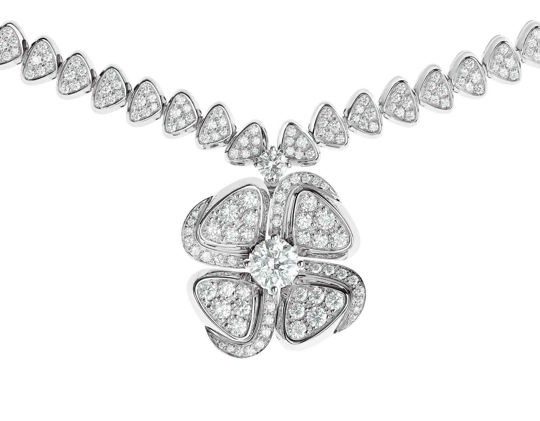 Fiorever 18 kt white gold necklace set with a central diamond (0.70 ct) and pavé diamonds 357377 image 3