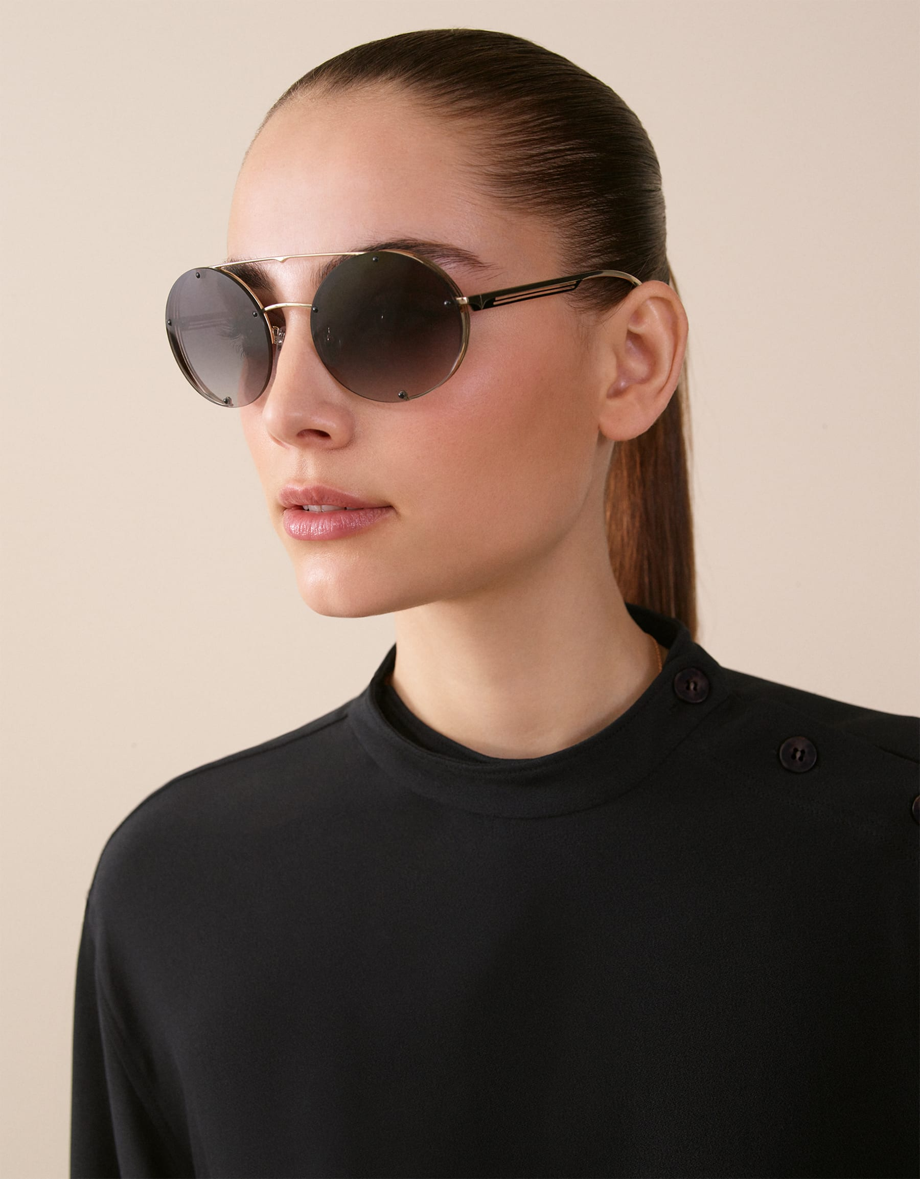 Bvlgari B.zero1 B.flyingstripe round metal aviator sunglasses. 903815 image 3