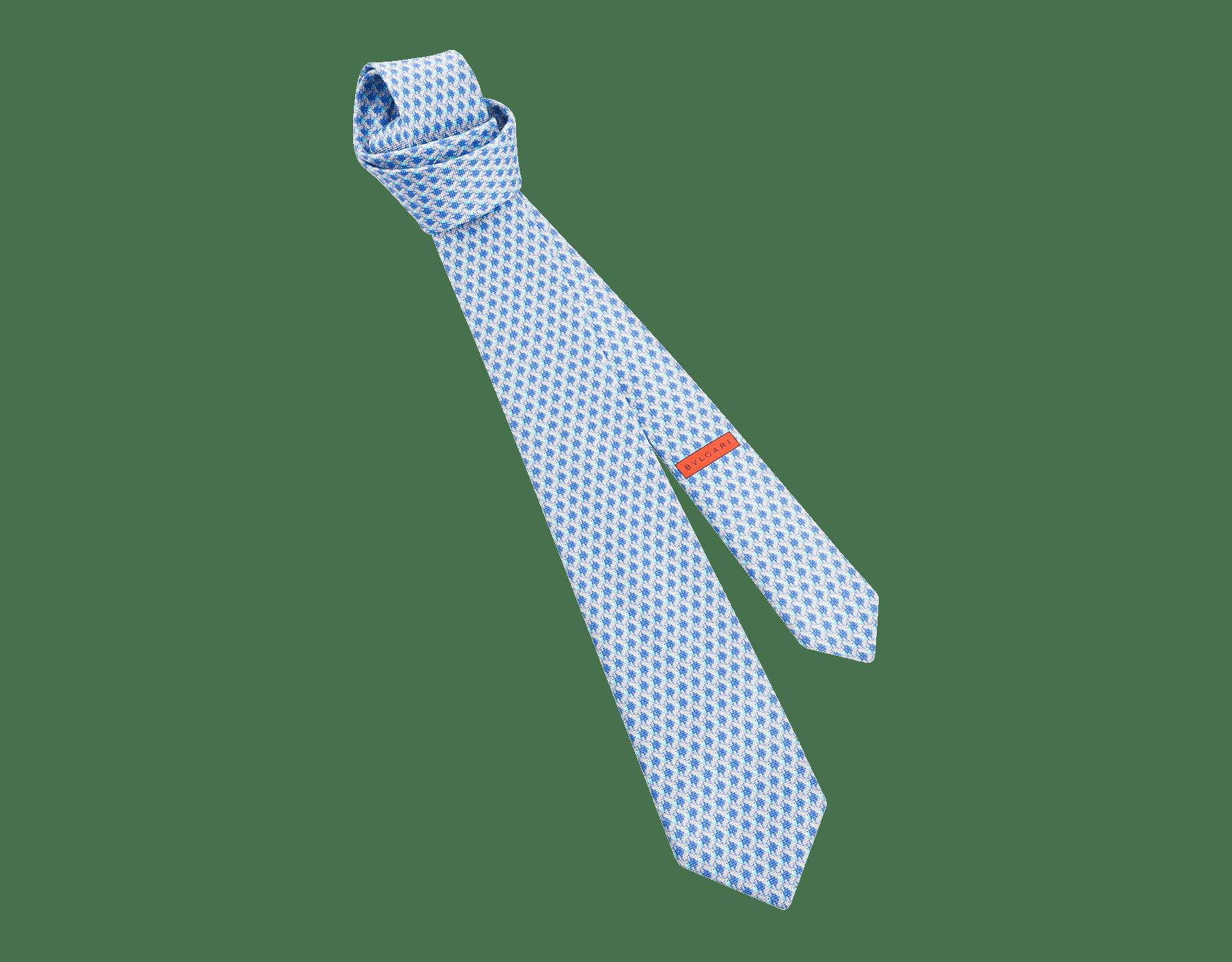 Cravatta sette pieghe blu con motivo Fish Divine in pregiata seta saglione stampata. 244151 image 1