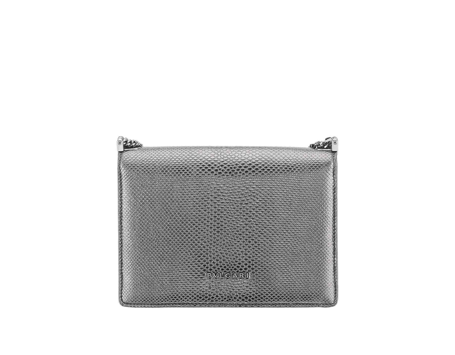 """Serpenti Forever"" multichain shoulder bag in ""Molten"" Charcoal Diamond grey karung skin with black nappa leather inner lining, offering a touch of radiance for the Winter Holidays. New Serpenti head closure in dark ruthenium-plated brass, complete with ruby-red enamel eyes. 290543 image 3"