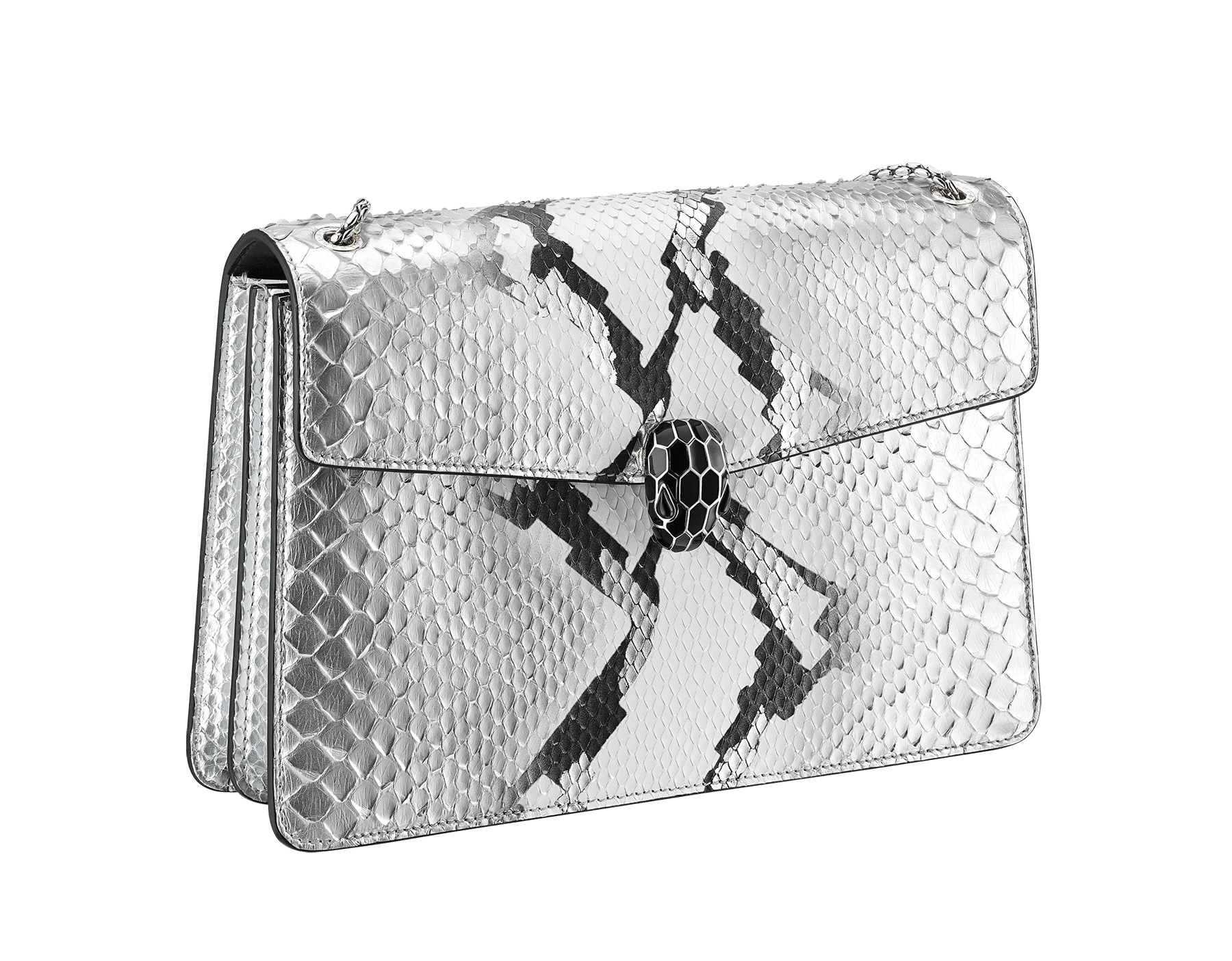 Serpenti Forever shoulder bag in black and white python skin with Whitethunder motif. Snakehead closure in shiny palladium plated brass decorated with black enamel, and black onyx eyes. 521-Pb image 2