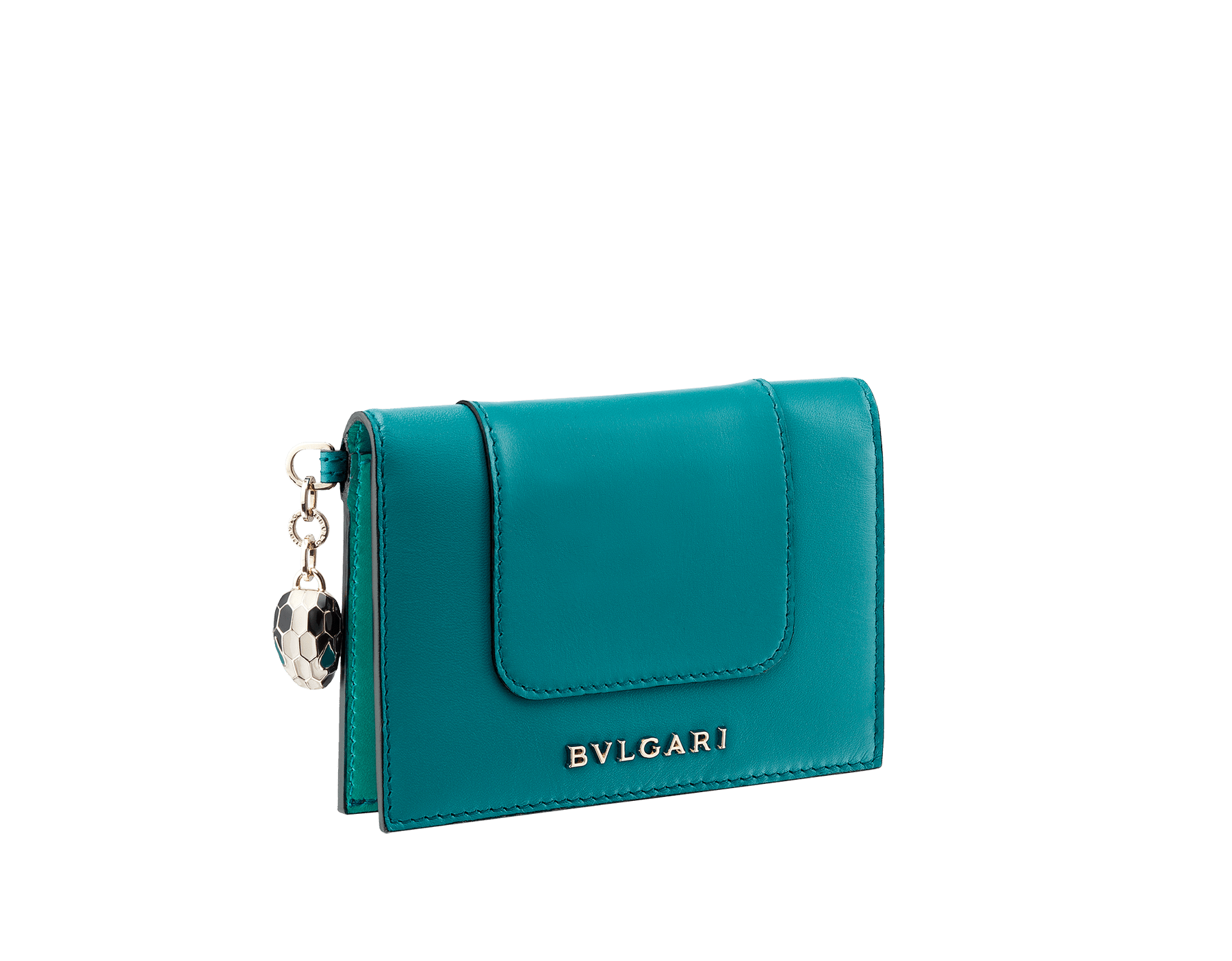 Serpenti Forever folded credit card holder in glacier turquoise calf leather. Iconic snakehead charm in black and white enamel, with green malachite enamel eyes. SEA-CC-HOLDER-FOLD-CLd image 1