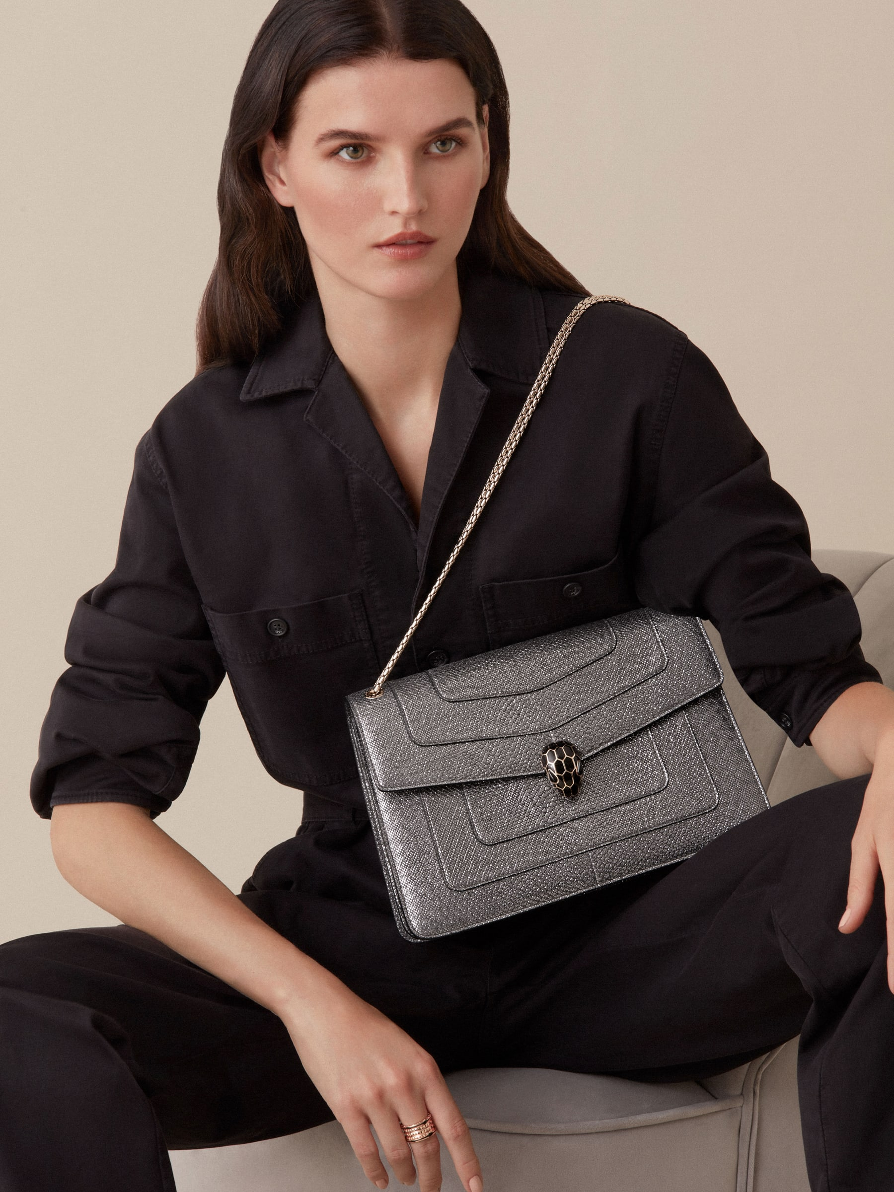 """""""Serpenti Forever"""" shoulder bag in Charcoal Diamond grey metallic karung skin with Charcoal Diamond grey nappa leather internal lining. Tempting snakehead closure light gold plated brass enriched with black and glitter Hawk's Eye grey enamel and black onyx eyes. 1089-MK image 3"""