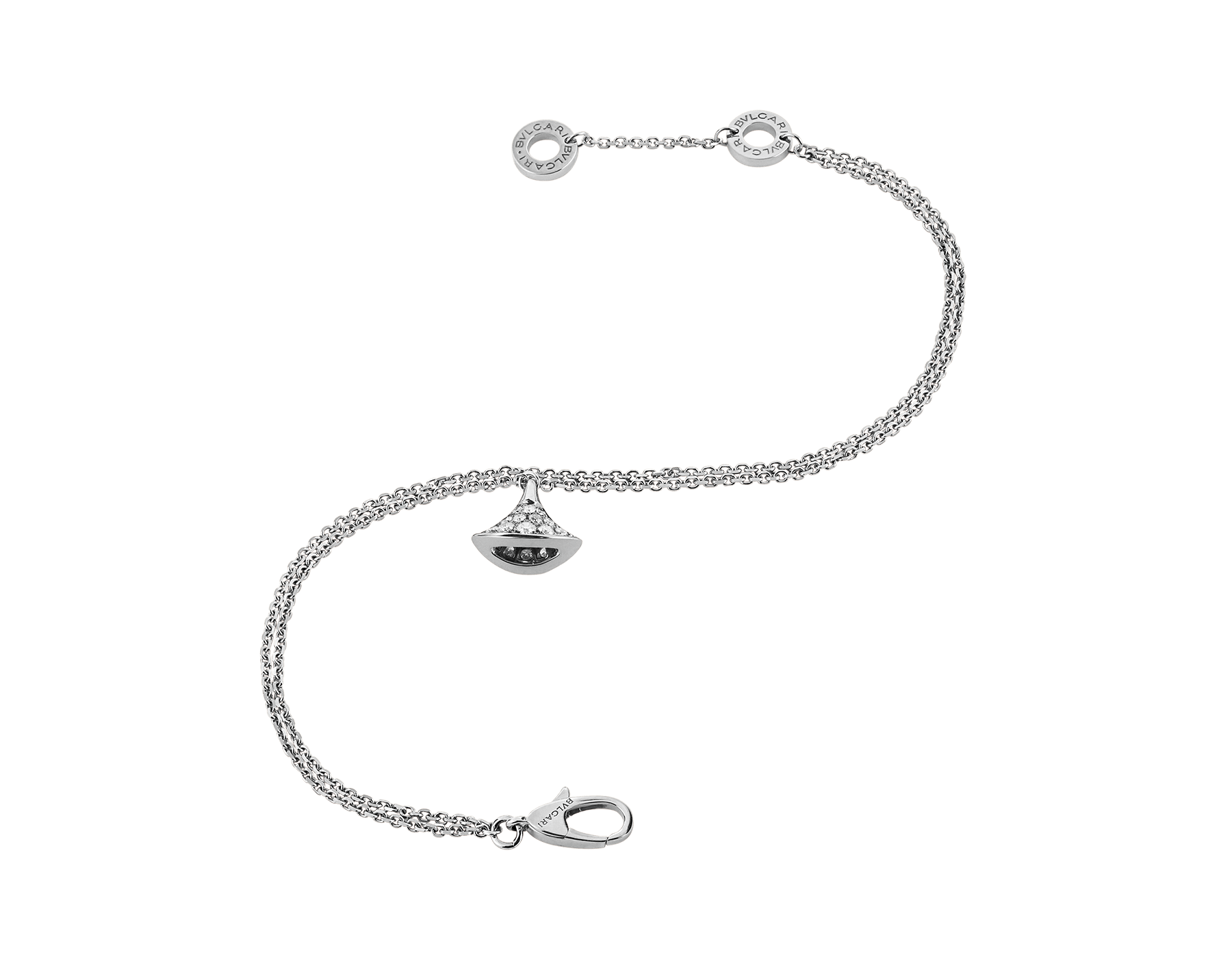 DIVAS' DREAM bracelet in 18 kt white gold with pendant set with full pavé diamonds. BR857493 image 2
