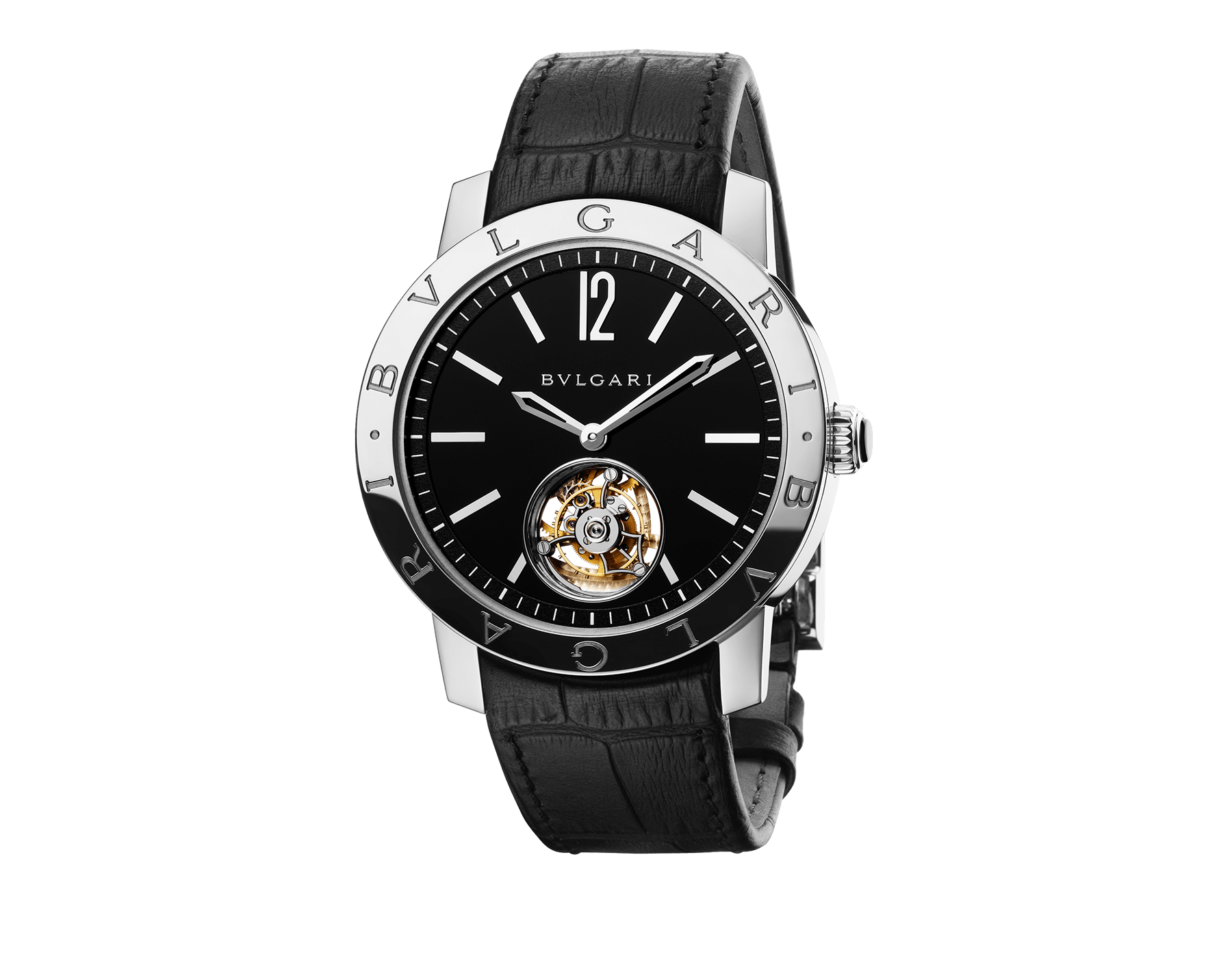 BVLGARI BVLGARI Tourbillon watch with mechanical manufacture movement, automatic winding, see-through tourbillon and sapphire bridge. 18 kt white gold case, black dial and black alligator bracelet 102212 image 1
