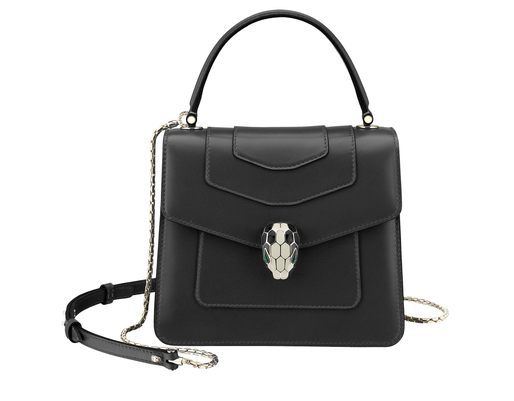 Flap cover bag Serpenti Forever in black calf leather and jade green gros-grain lining.Brass light gold plated hardware and snake head closure in black and white enamel with eyes in green malachite. 284537 image 1