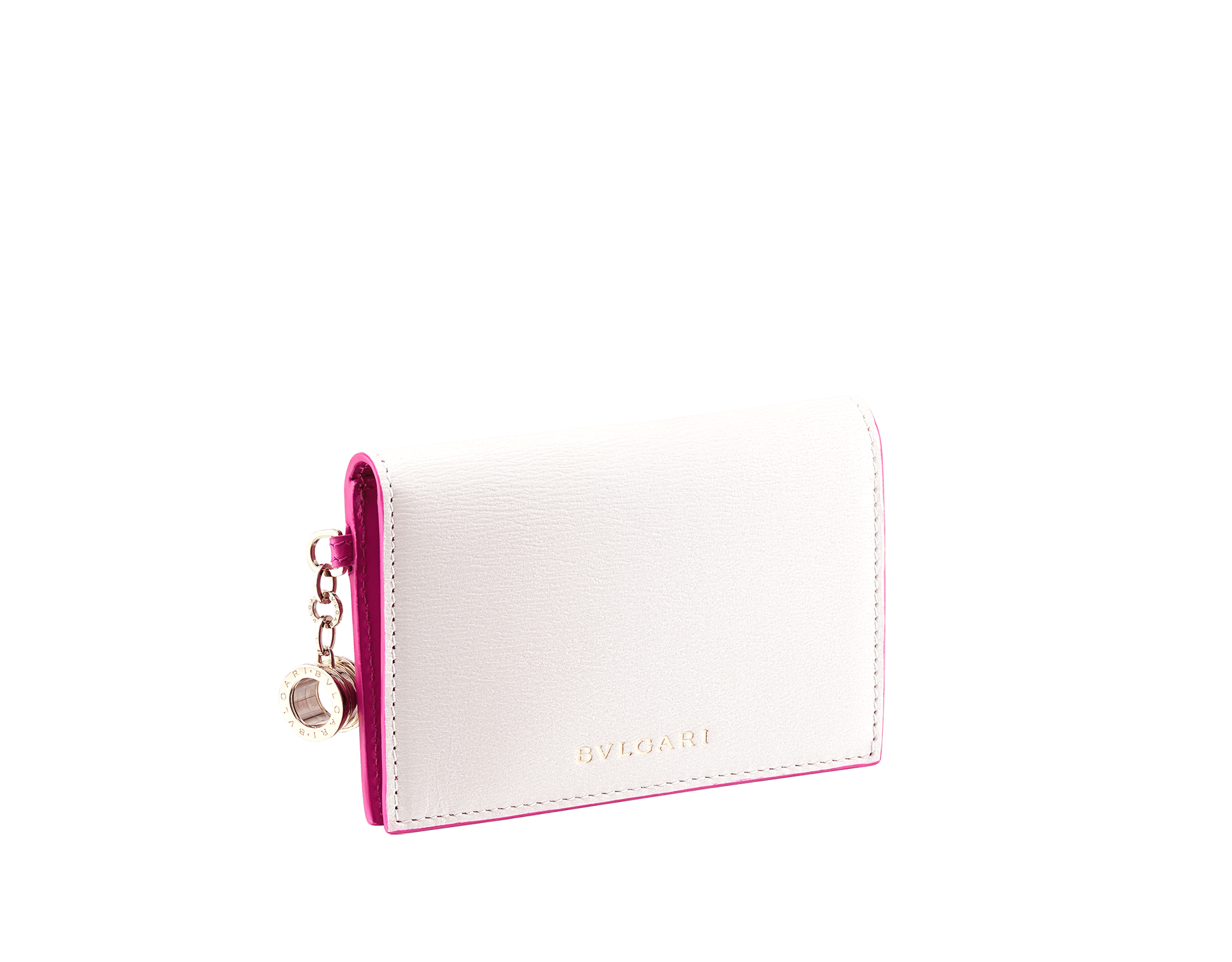 """B.zero1"" folded card holder in white agate and berry tourmaline goatskin and berry tourmaline calf leather. Iconic B.zero1 charm in light gold-plated brass. 289779 image 1"
