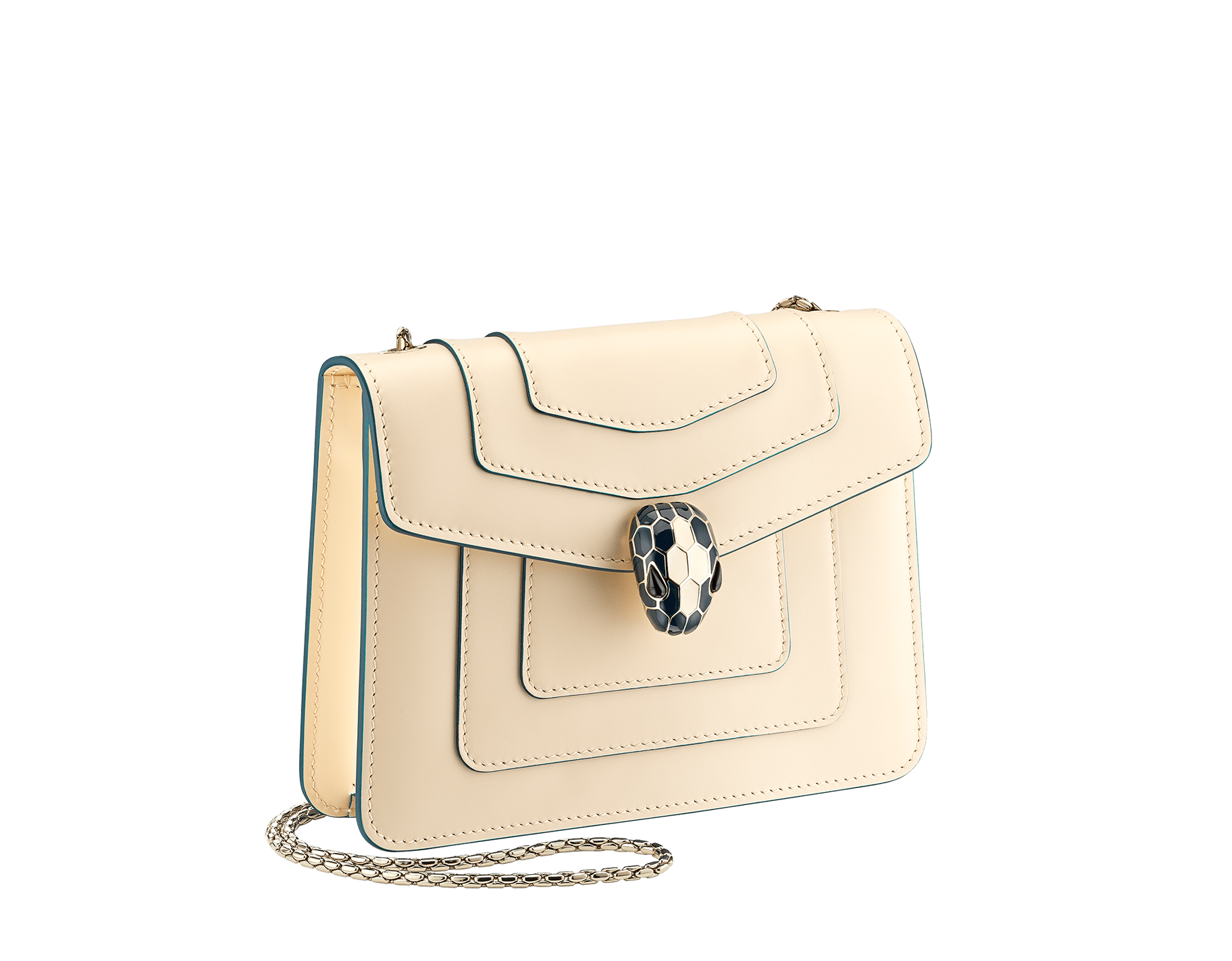 """""""Serpenti Forever"""" crossbody bag in peach calf leather with Pink Spinel fuchsia grosgrain inner lining. Iconic snakehead closure in light gold-plated brass enriched with black and white agate enamel and green malachite eyes. 422-CLb image 2"""